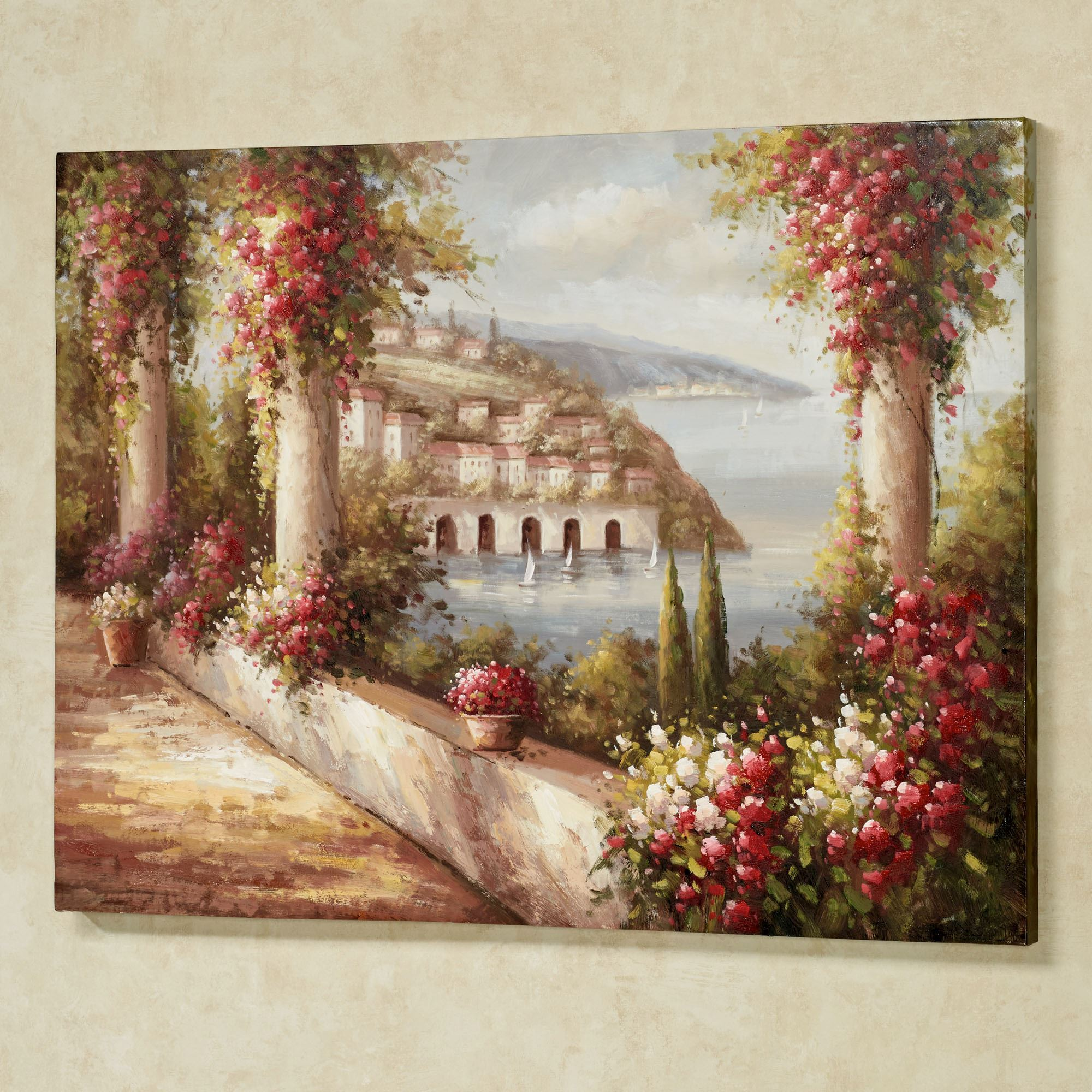 Tuscan Sea View Handpainted Canvas Wall Art