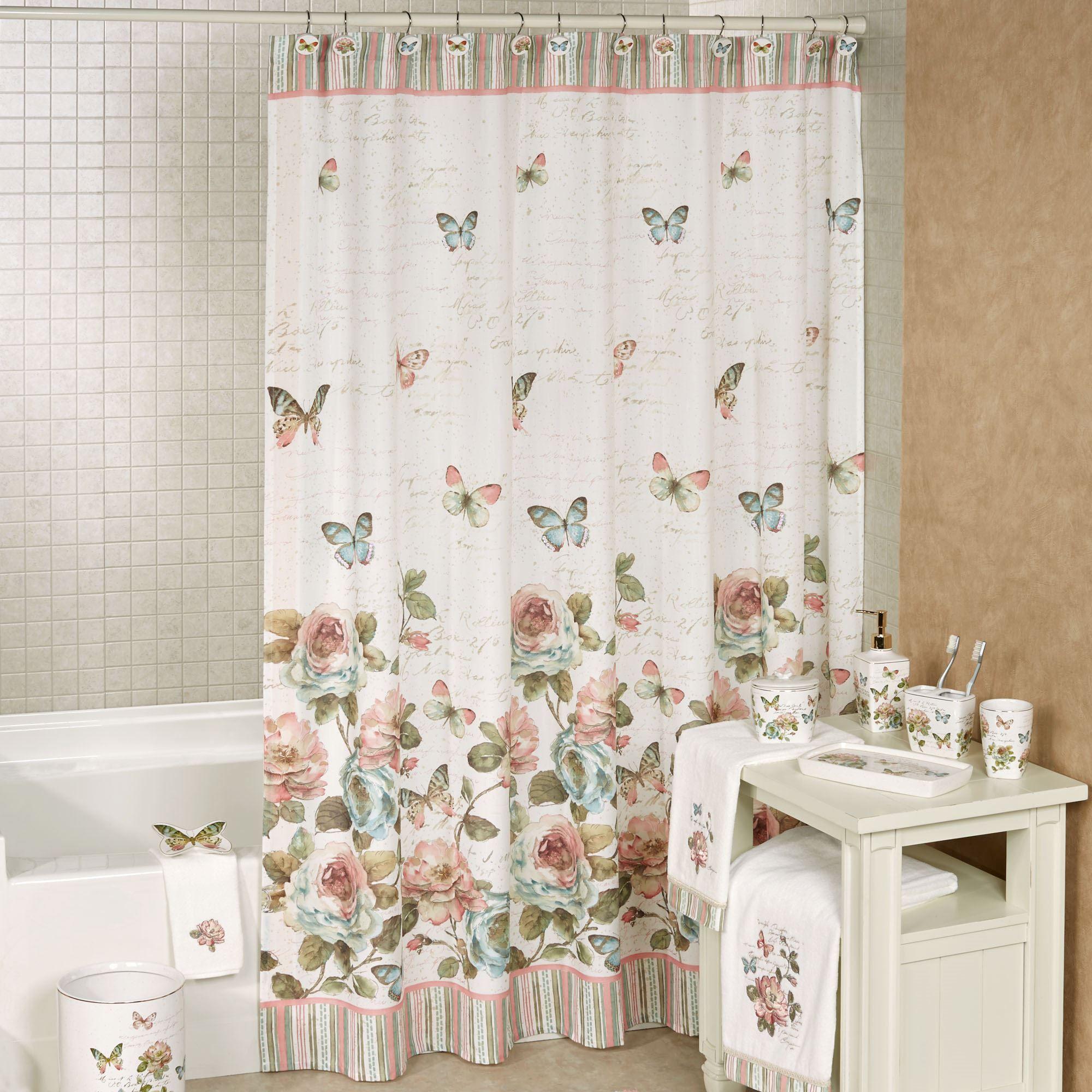 Beau Butterfly Garden Shower Curtain Ivory 72 X 72