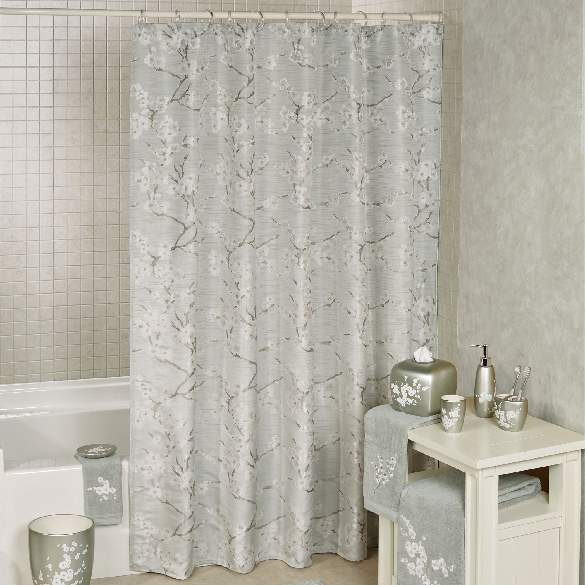 mika dogwood floral shower curtain by j queen new york