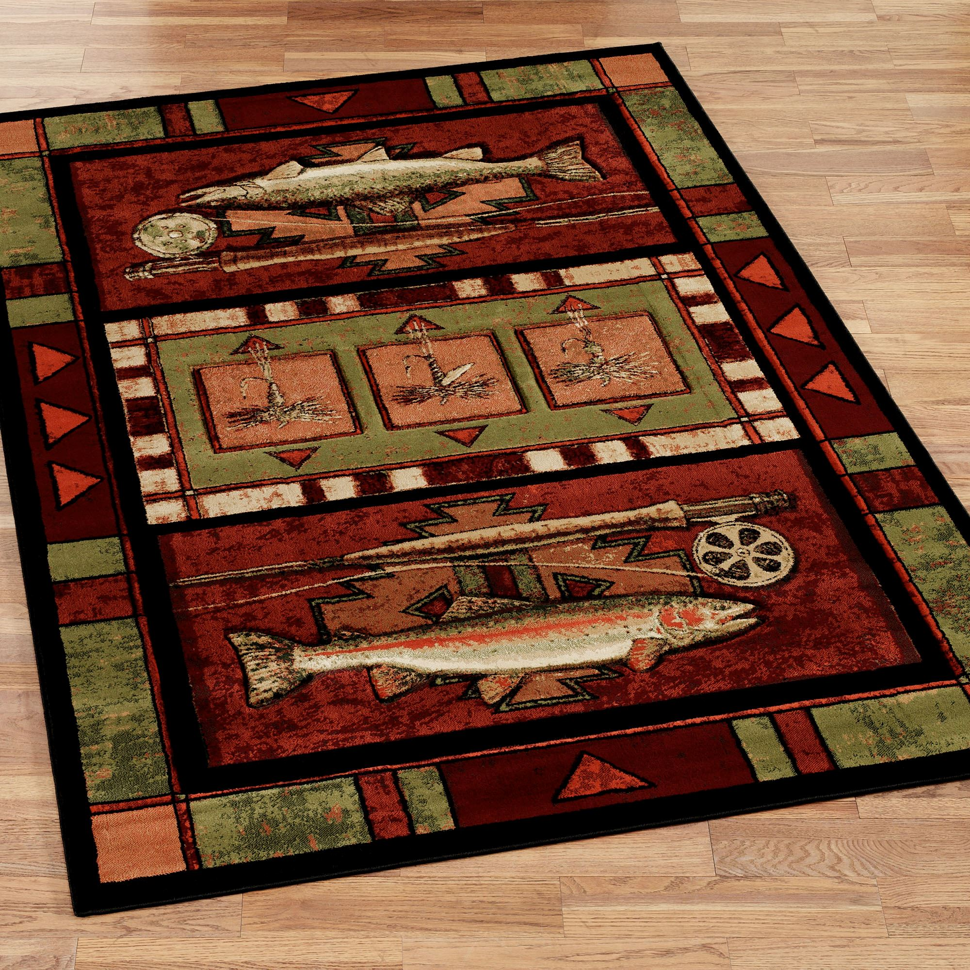 Rainbow trout fishing area rugs for Fish bath rug