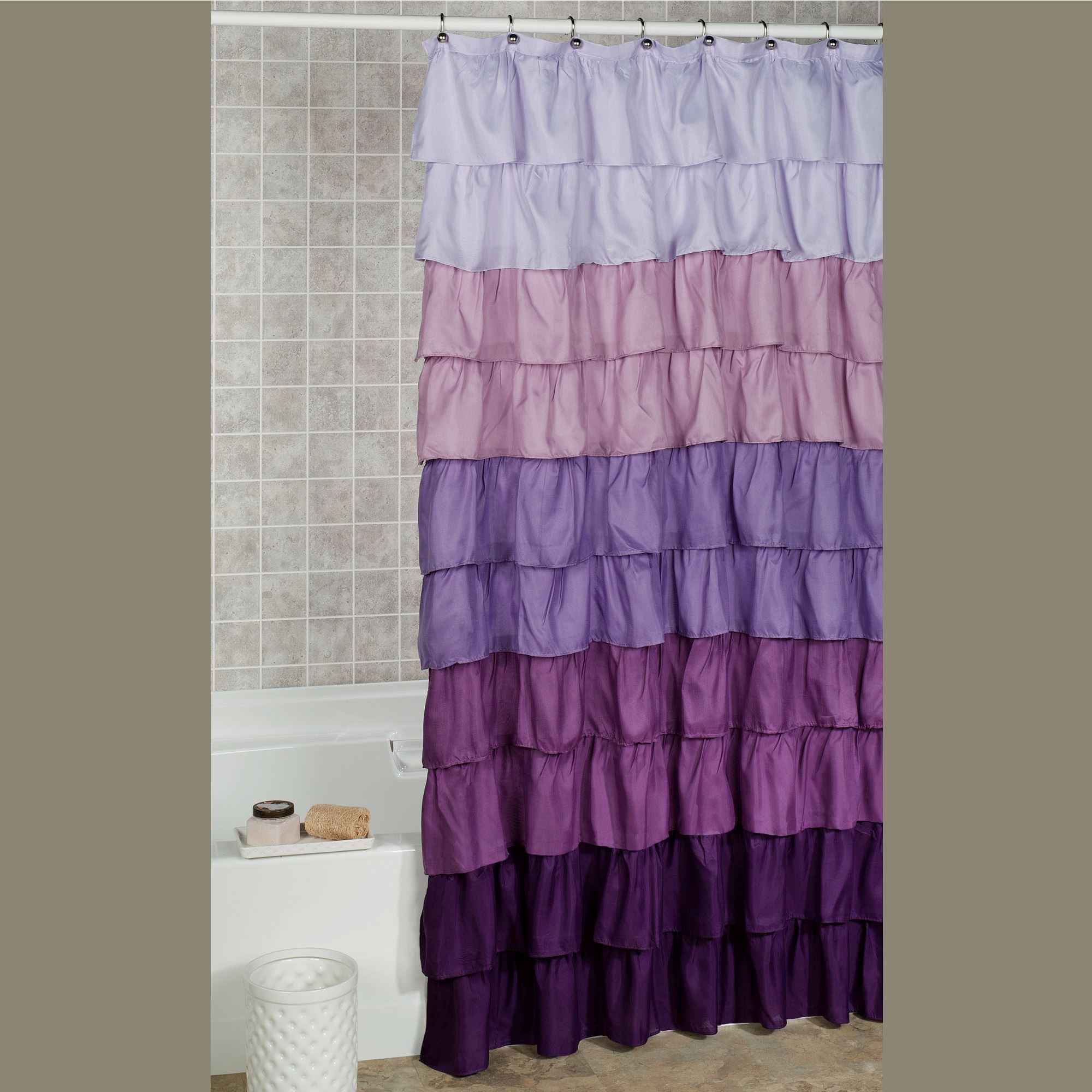 Maribella Lavender Ombre Ruffled Shower Curtain