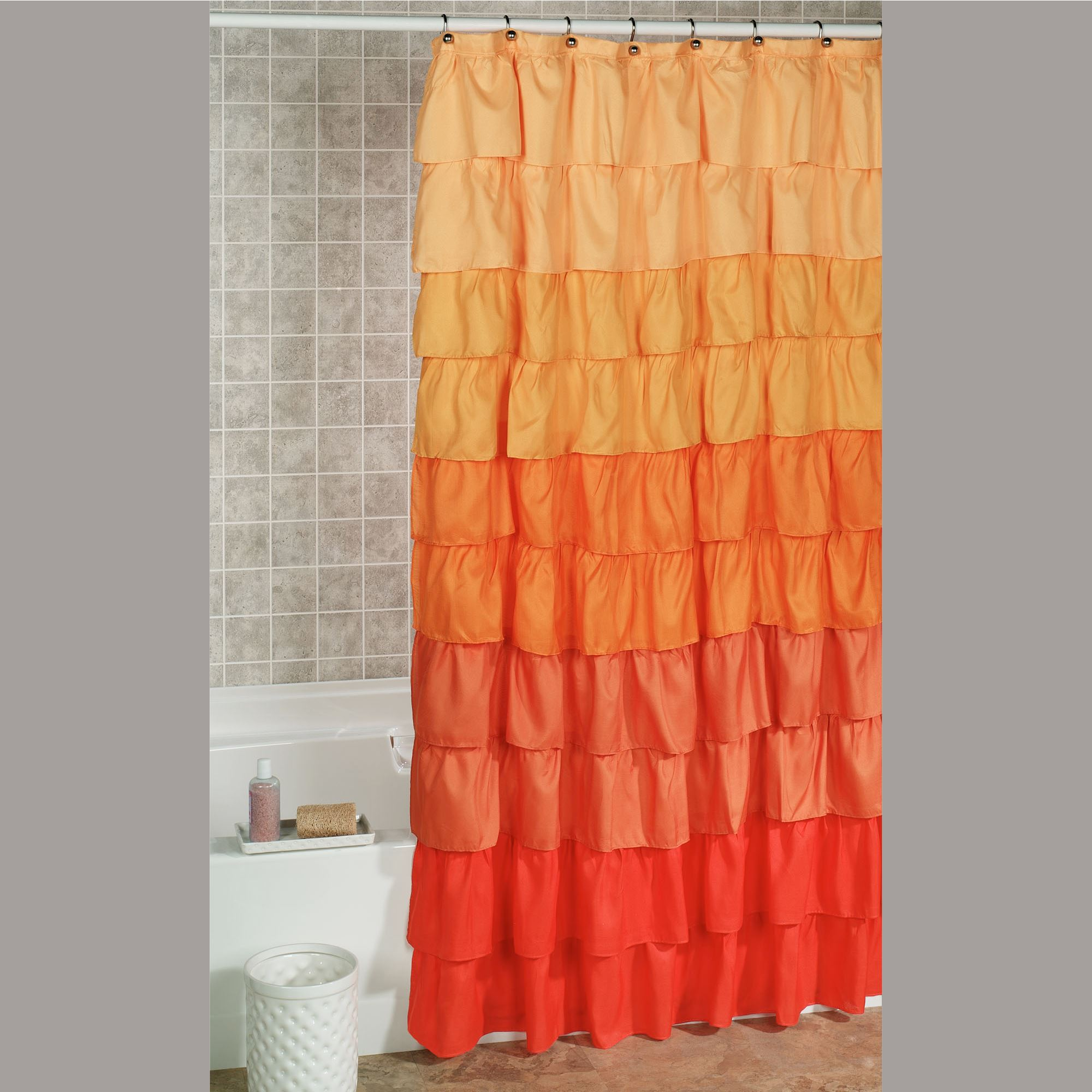 Maribella Vermillion Ombre Ruffled Shower Curtain
