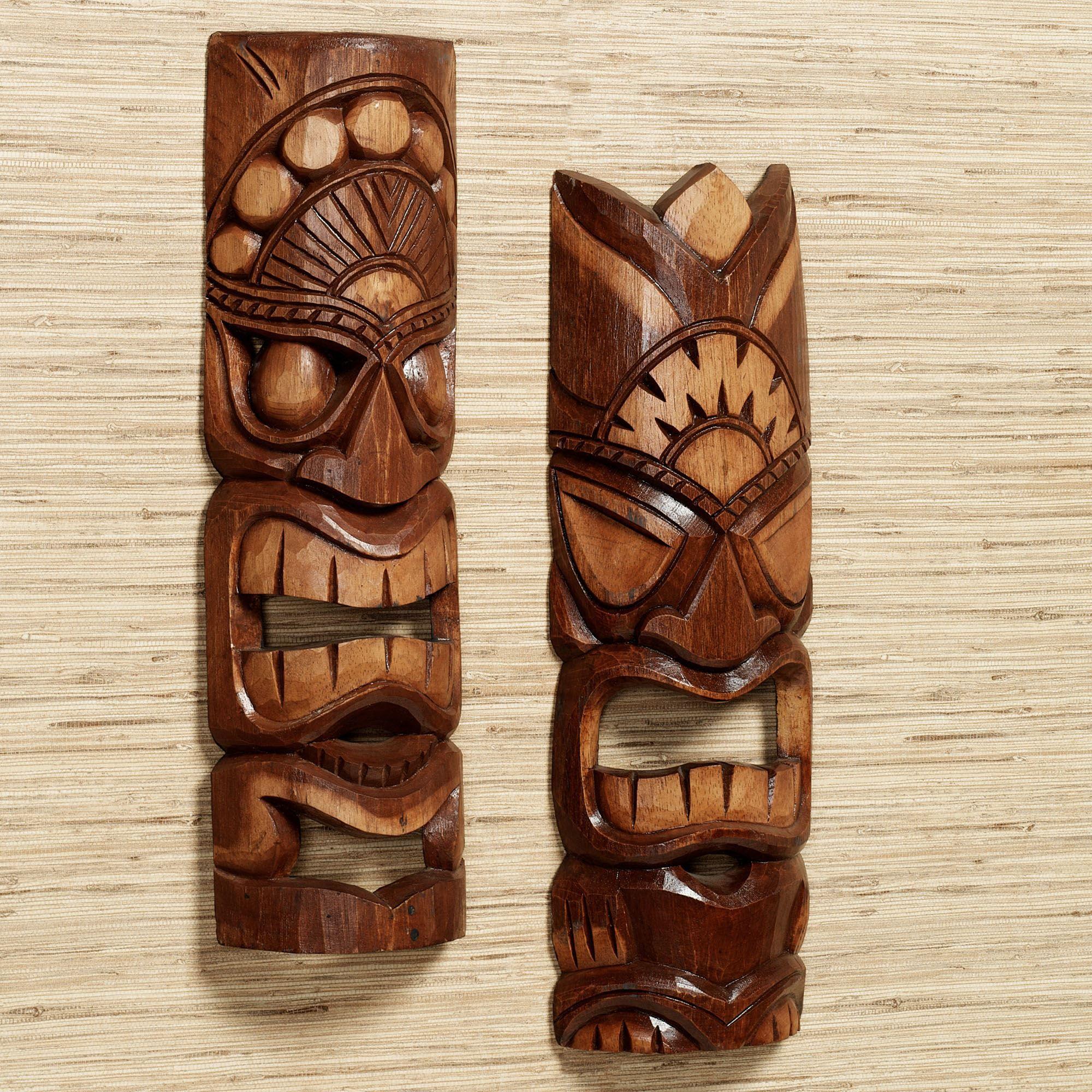 Top Tiki Warrior Wood Mask Wall Art Set EE97