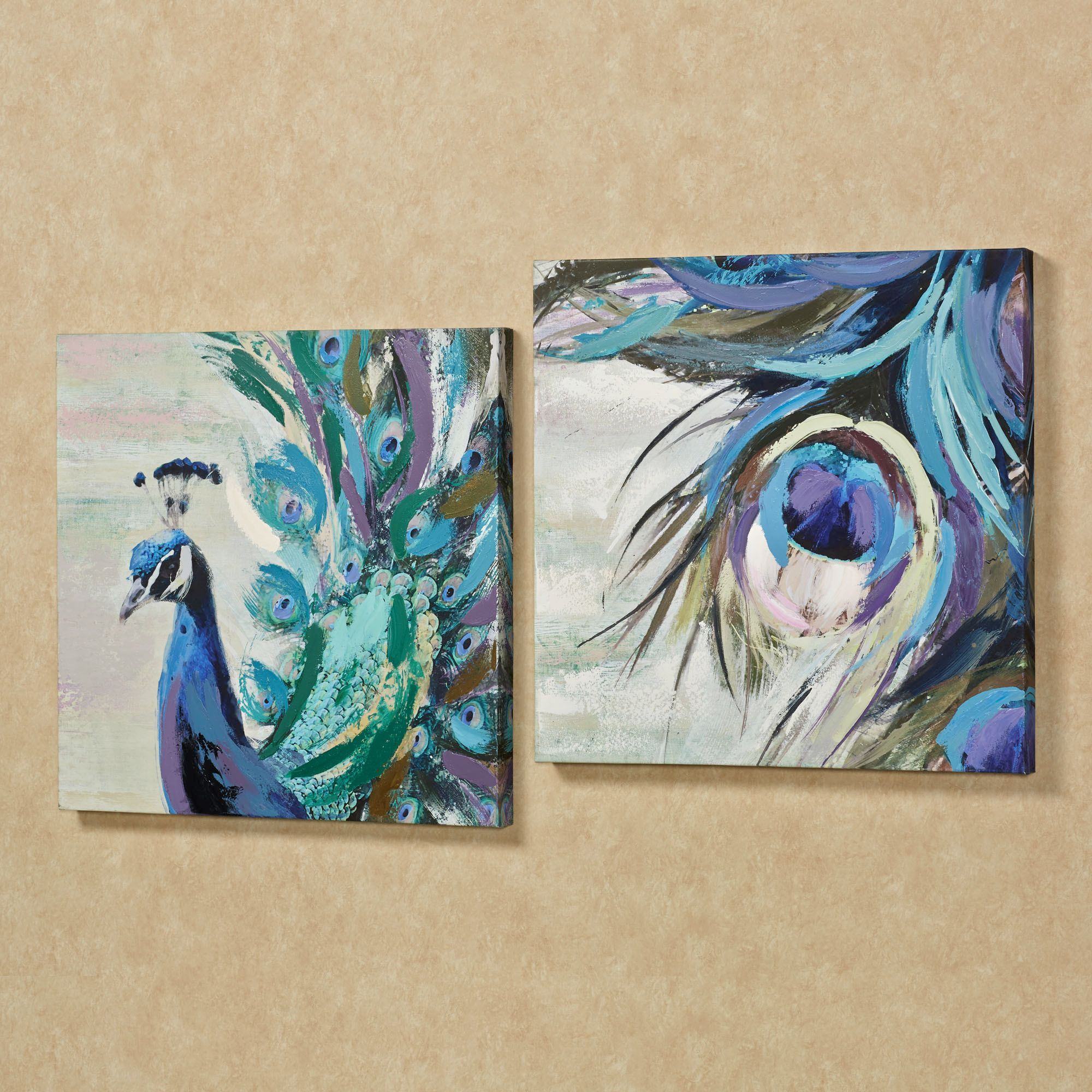 Fanciful Plumes Peacock Canvas Wall Art Set