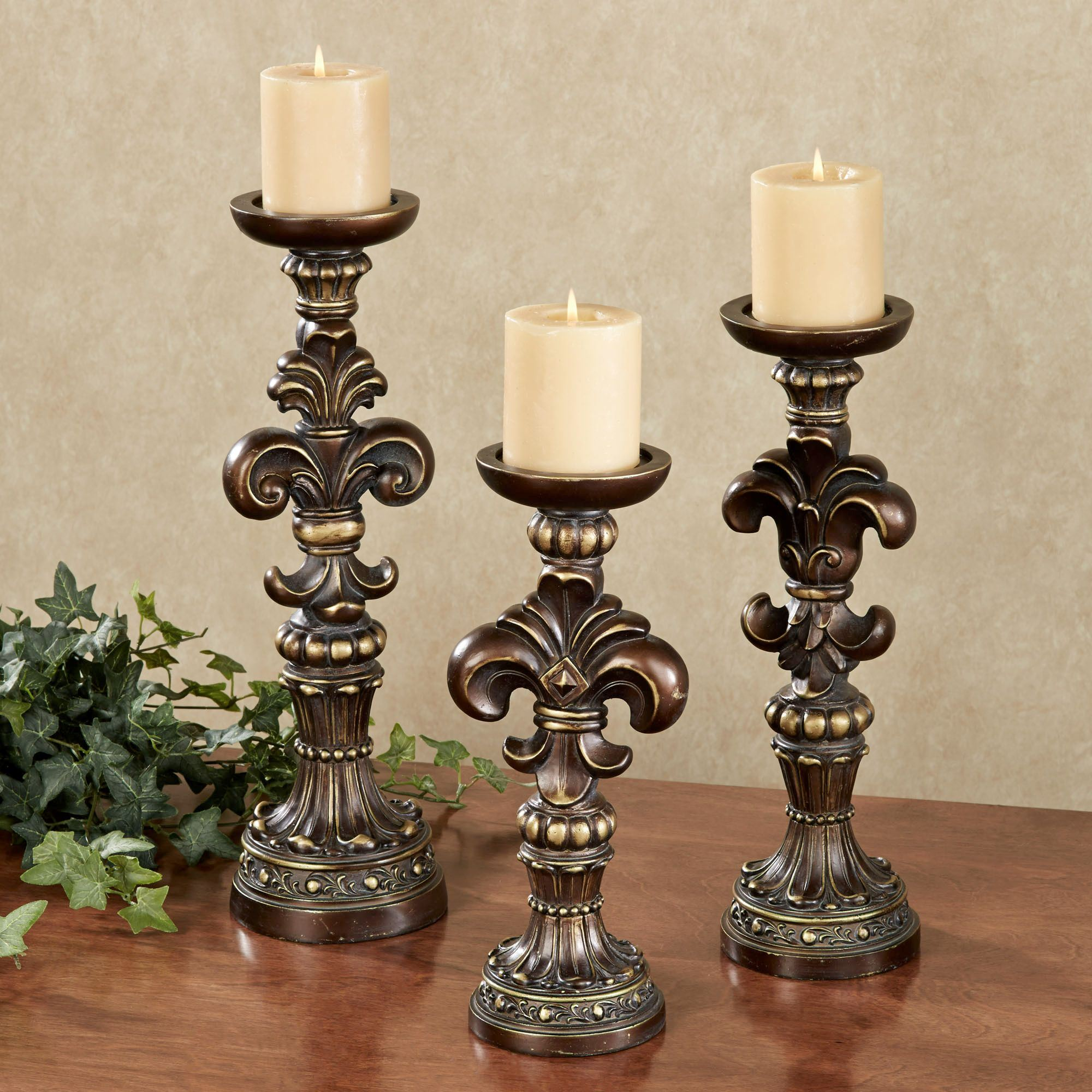 Antonia Fleur De Lis Candleholder Set