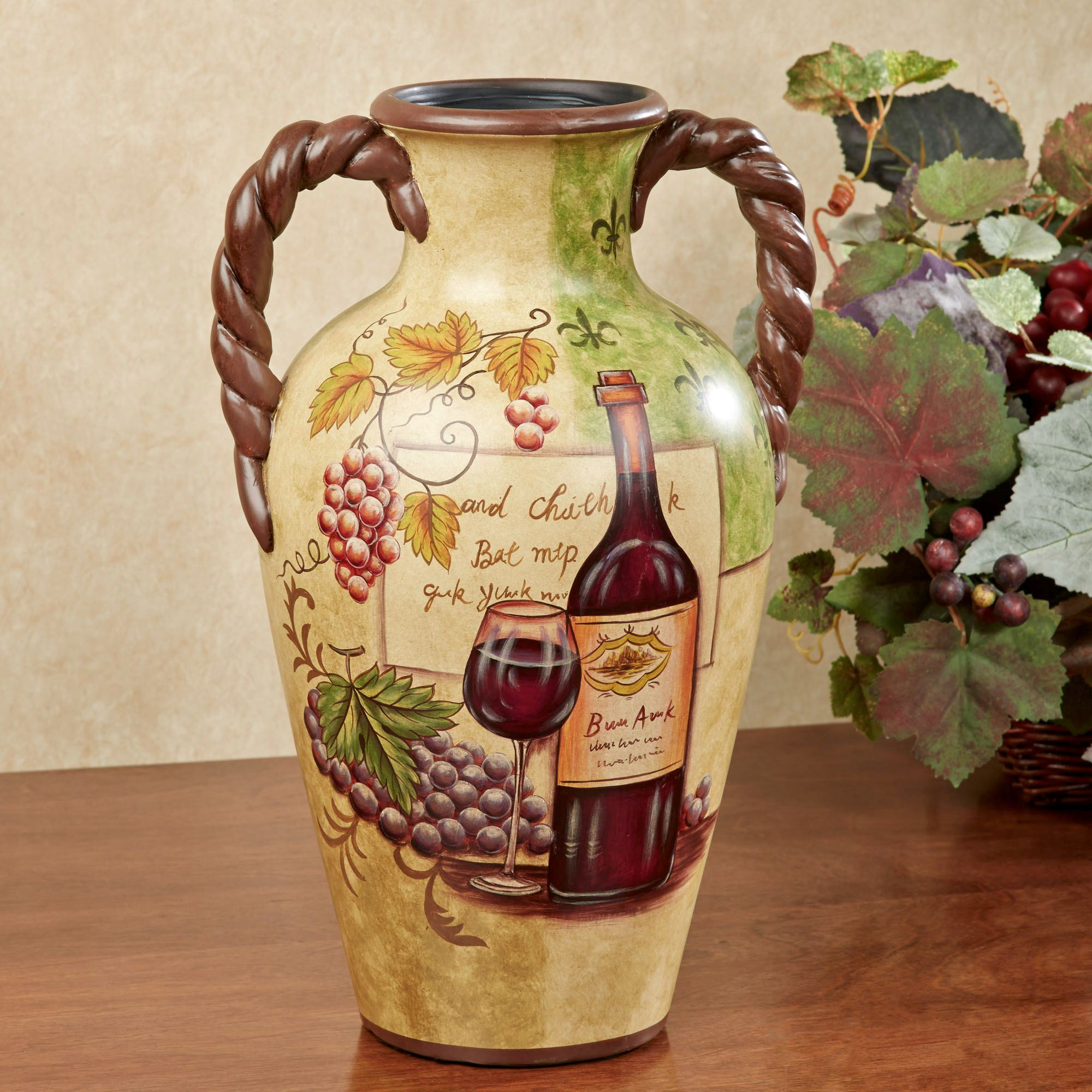 Vino grapes and wine decorative table vase for Decoration vase