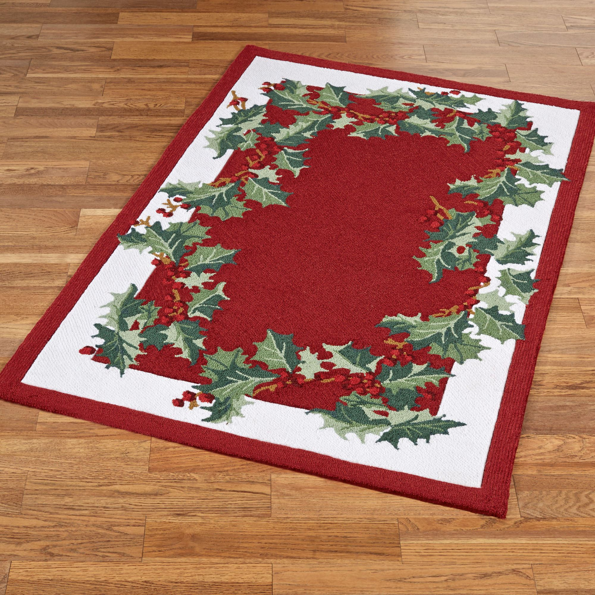 Christmas Runner Rugs.Holly Border Hooked Holiday Area Rugs