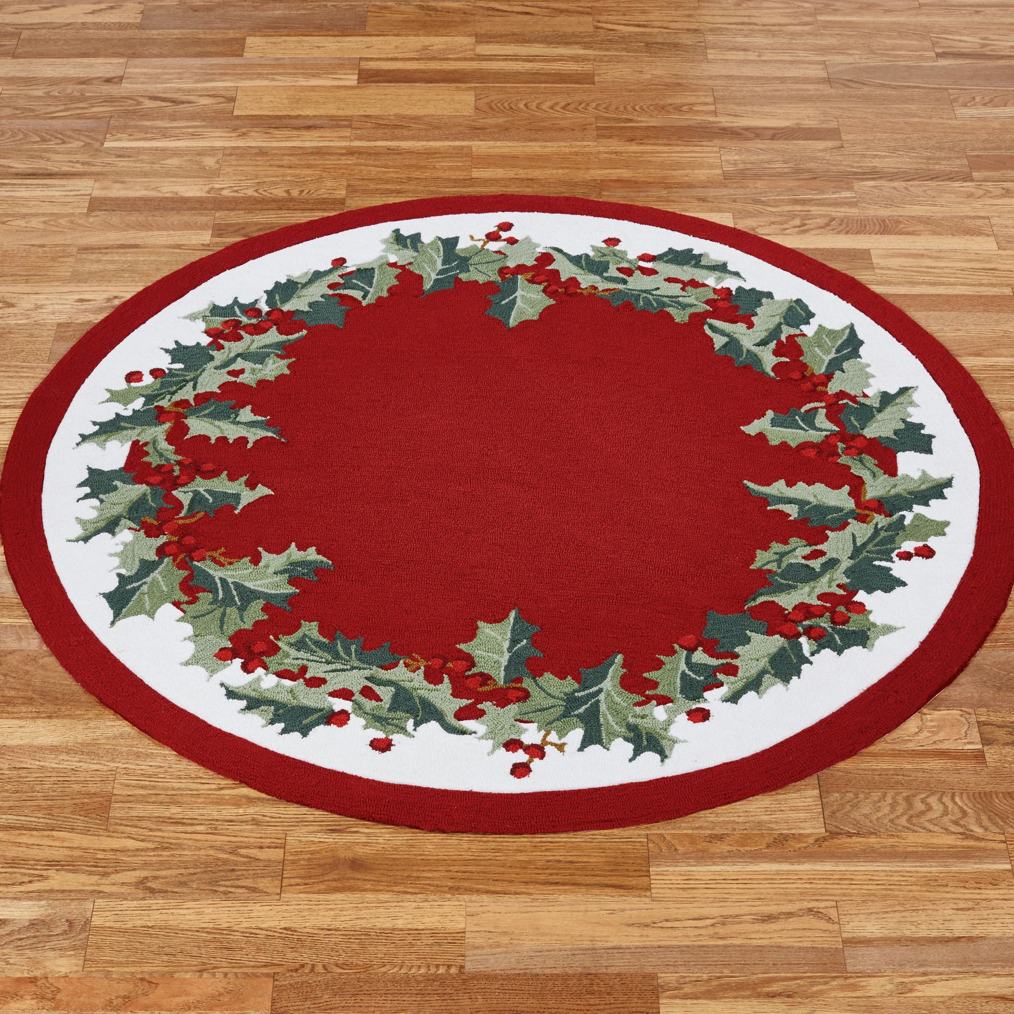 Holly Border Round Rug Red 5