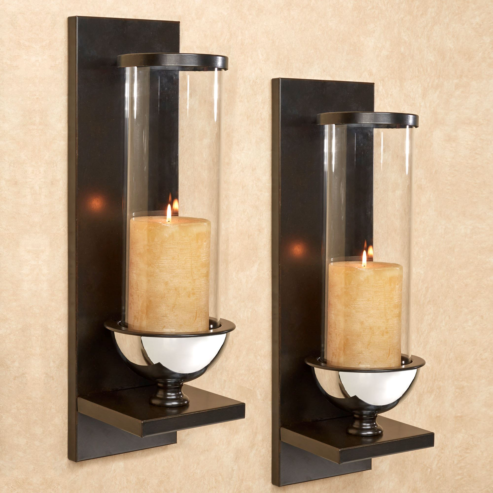 Wall sconces wall candleholders and wall candelabras touch of lucrezia wall sconce pair black pair amipublicfo Image collections