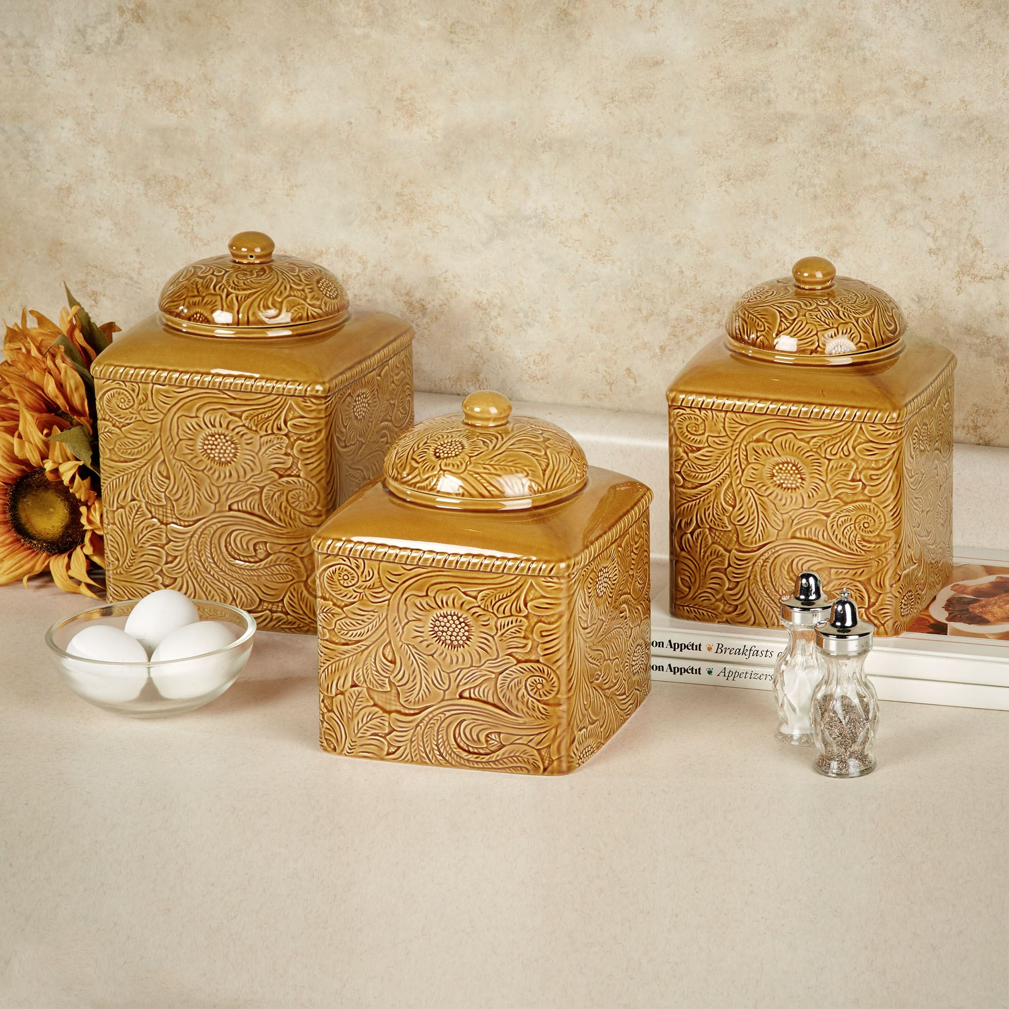 kitchen canister set savannah gold kitchen canister set