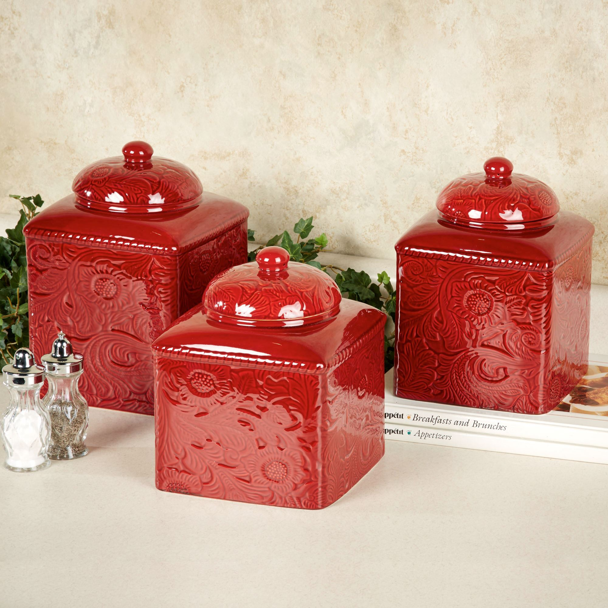 kitchen canister set savannah red kitchen canister set 8005