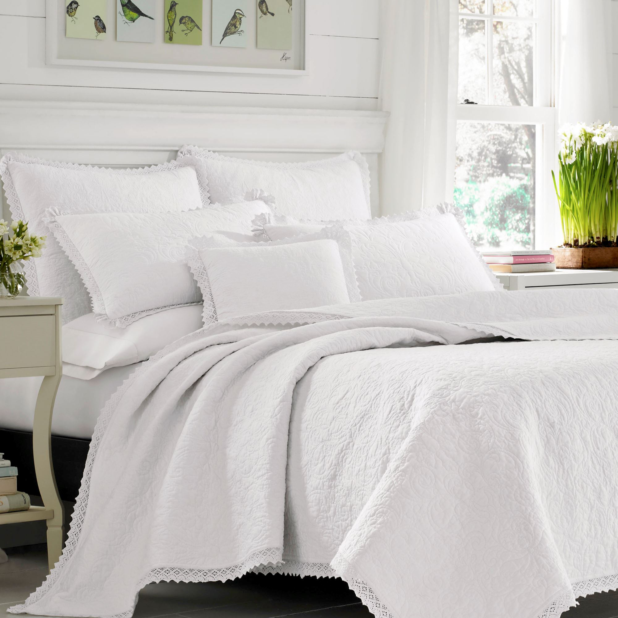 Heirloom Crochet Solid White Quilt Set By Laura Ashley