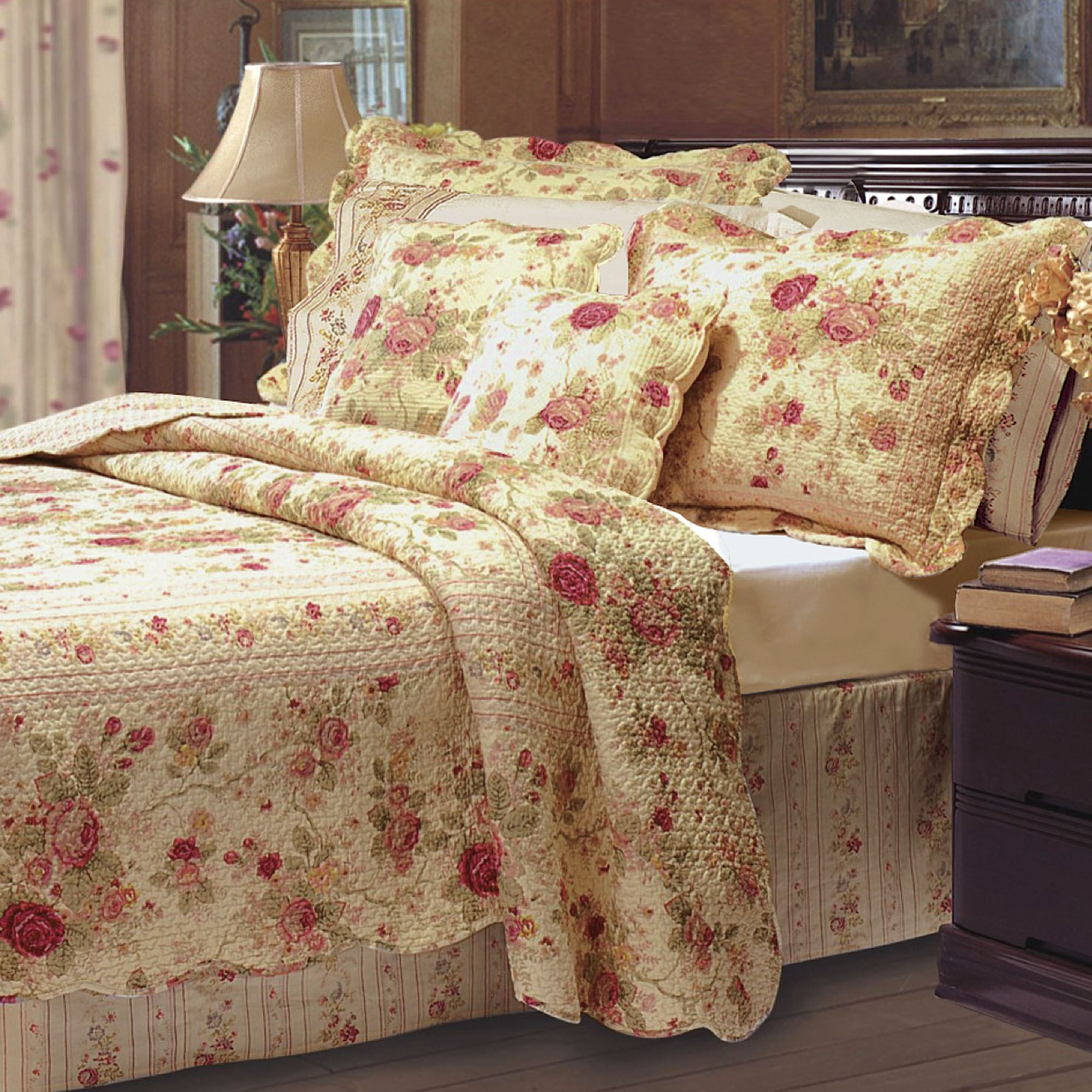 Overview the cotton antique rose floral quilt bedding set includes a bed