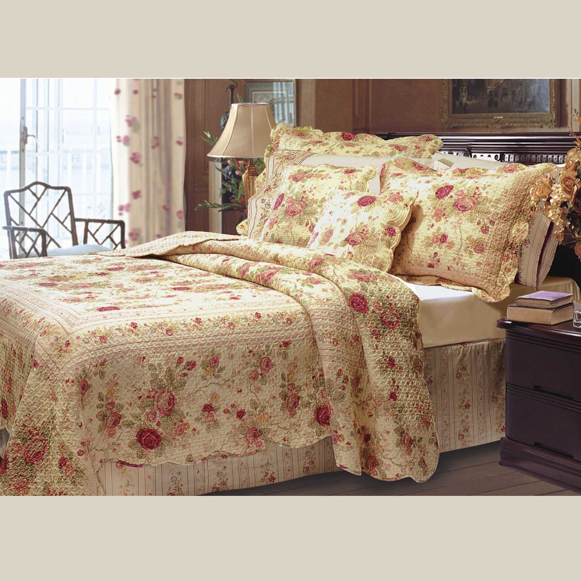 antique rose cotton floral quilt bedding set. Black Bedroom Furniture Sets. Home Design Ideas
