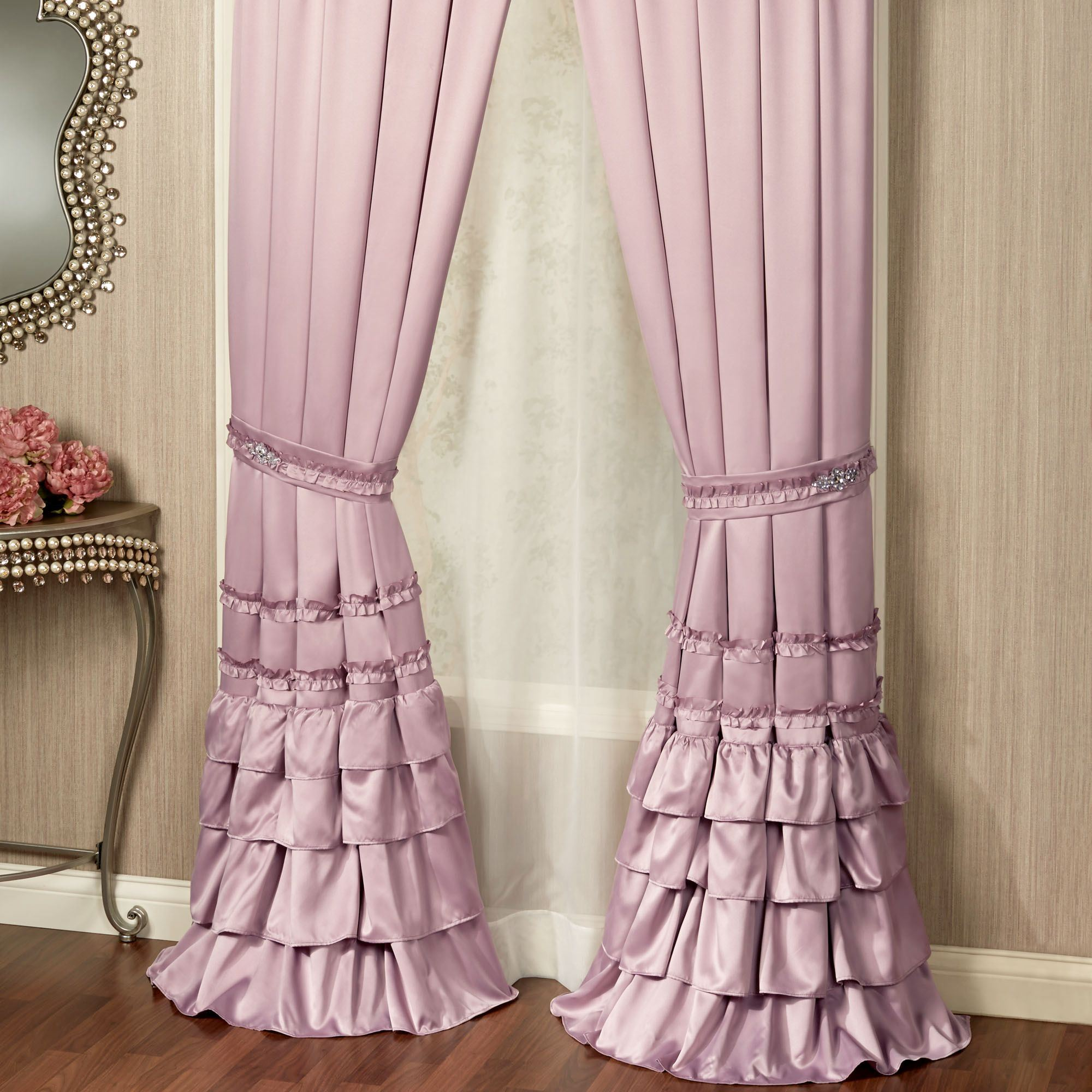 Enchante Dusty Mauve Ruffled Comforter Bedding Ruffled Curtains