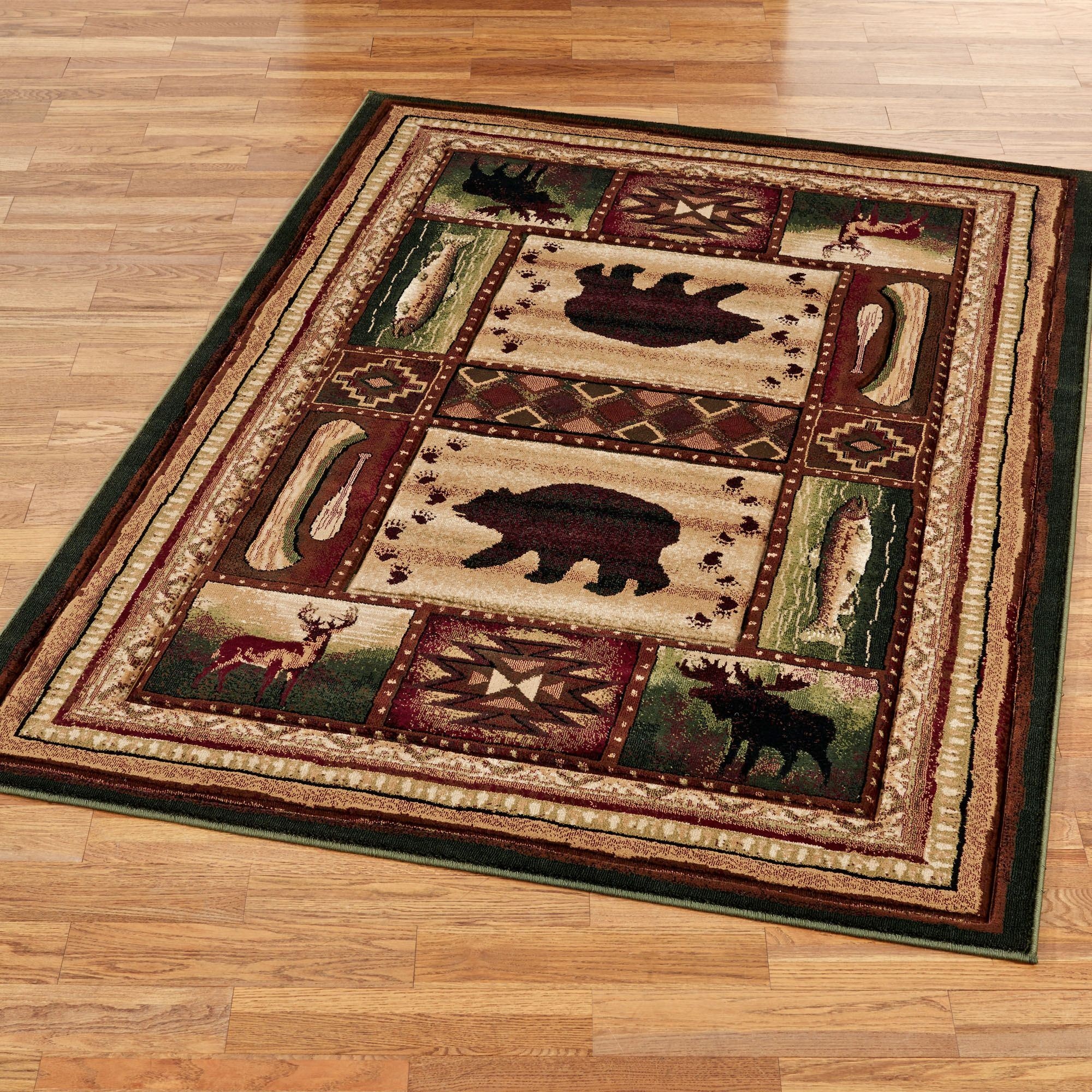 Bear Wilderness Rectangle Rug Multi Warm
