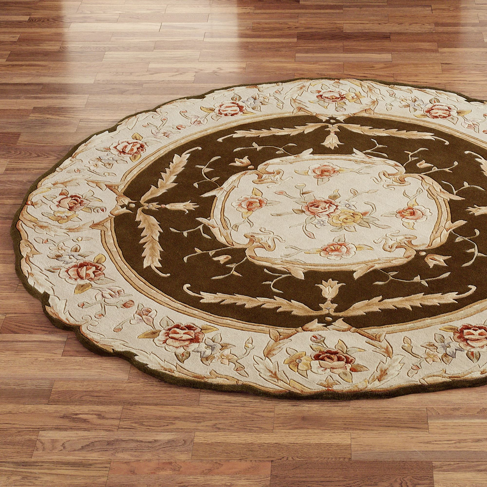 Rose Aubusson Sculpted Round Area Rugs