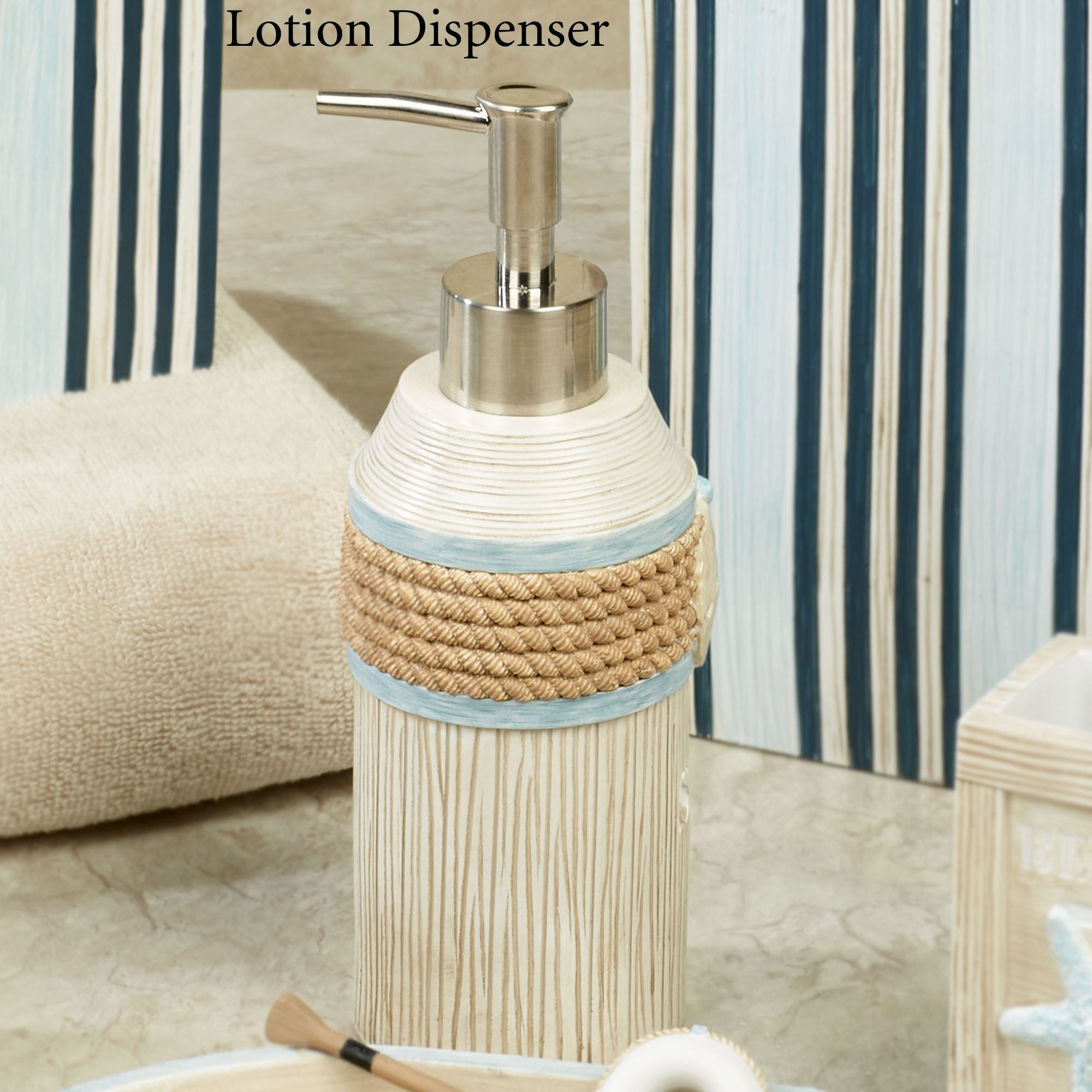 Seaside Serenity Lotion Soap Dispenser Light Blue Coastal Bath Accessories