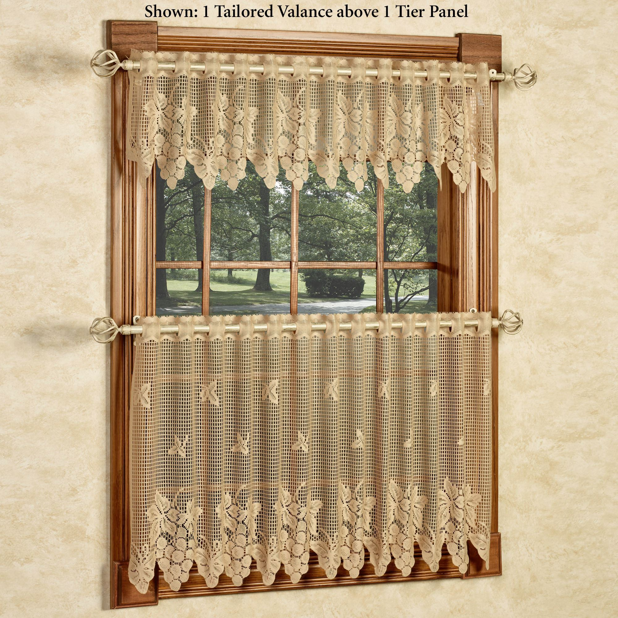 Vineyard Grapes Gold Lace Tier Window Treatment