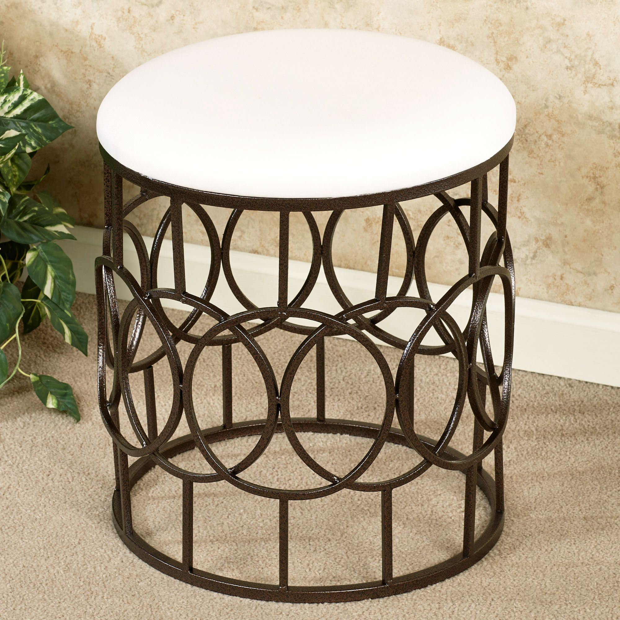 Swell Reign Round Upholstered Metal Vanity Stool Gmtry Best Dining Table And Chair Ideas Images Gmtryco