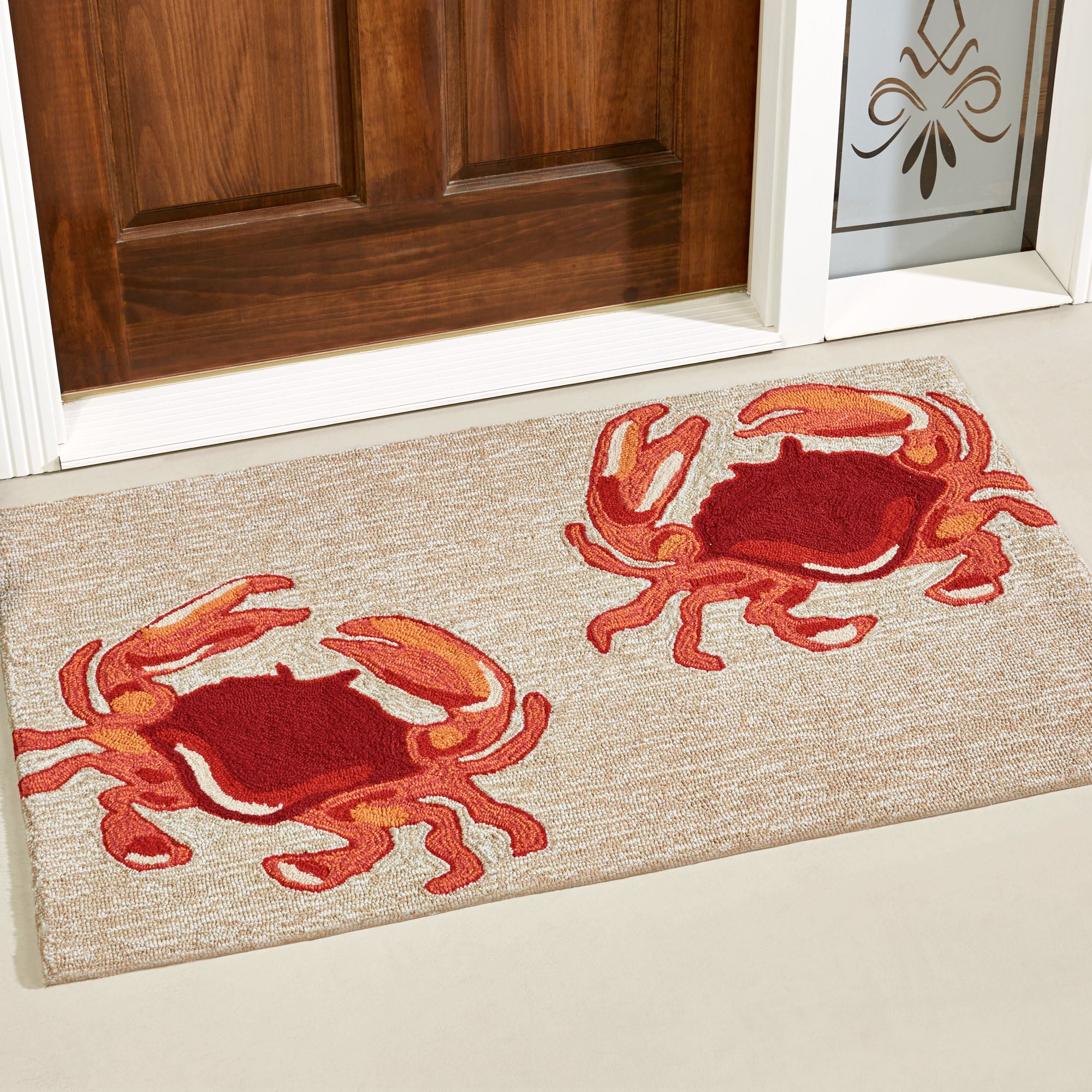 natural red crabs indoor outdoor rugs Accent Rugs