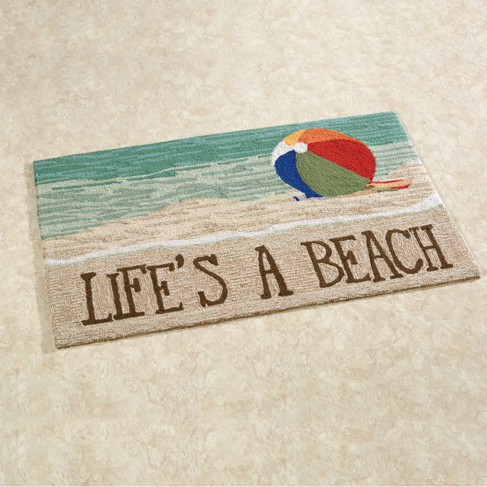 Lifes a Beach Indoor Outdoor Rugs
