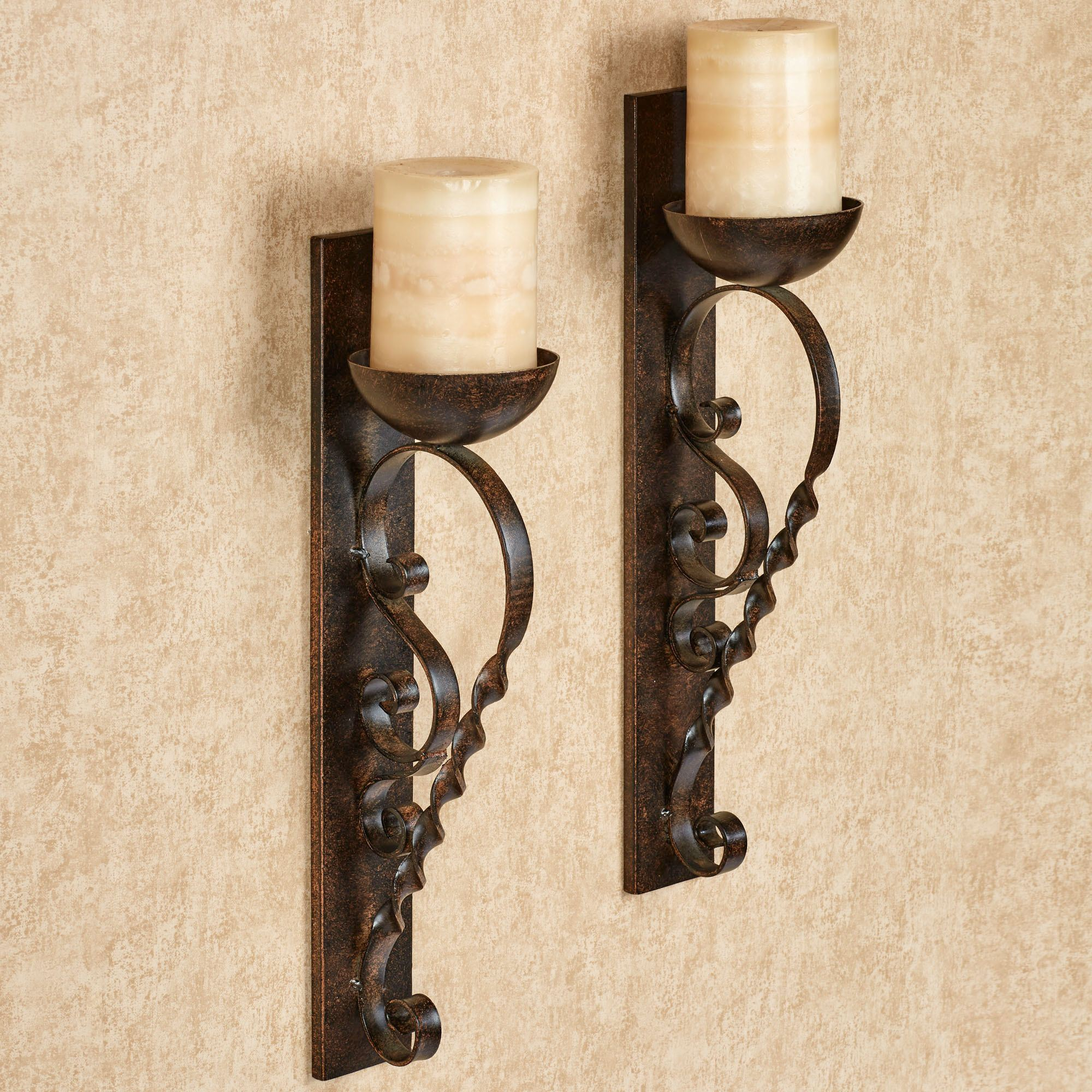 Twisted Pillar Metal Wall Sconce Pair