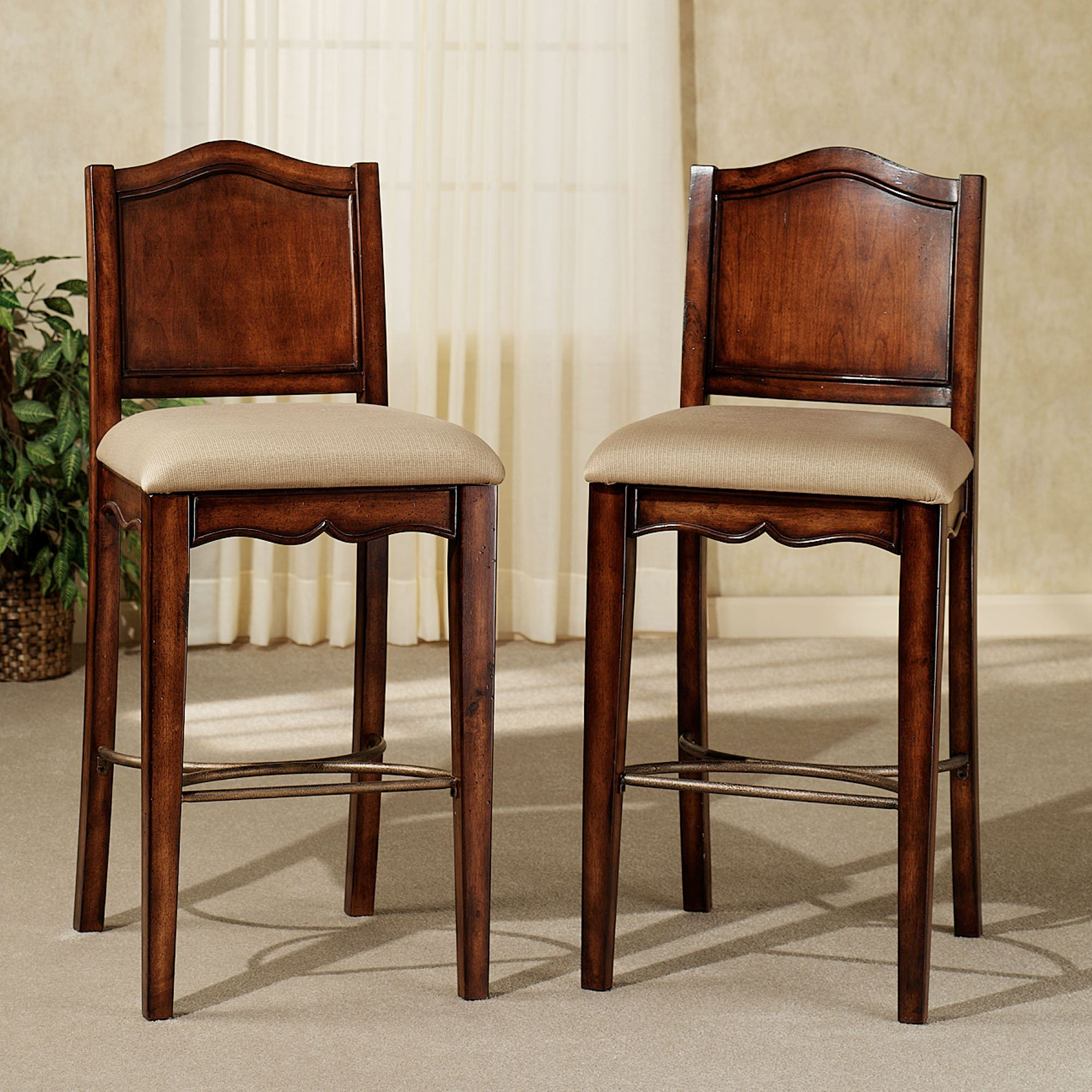 Surprising Yorktown Upholstered Traditional Bar Stool Set Machost Co Dining Chair Design Ideas Machostcouk