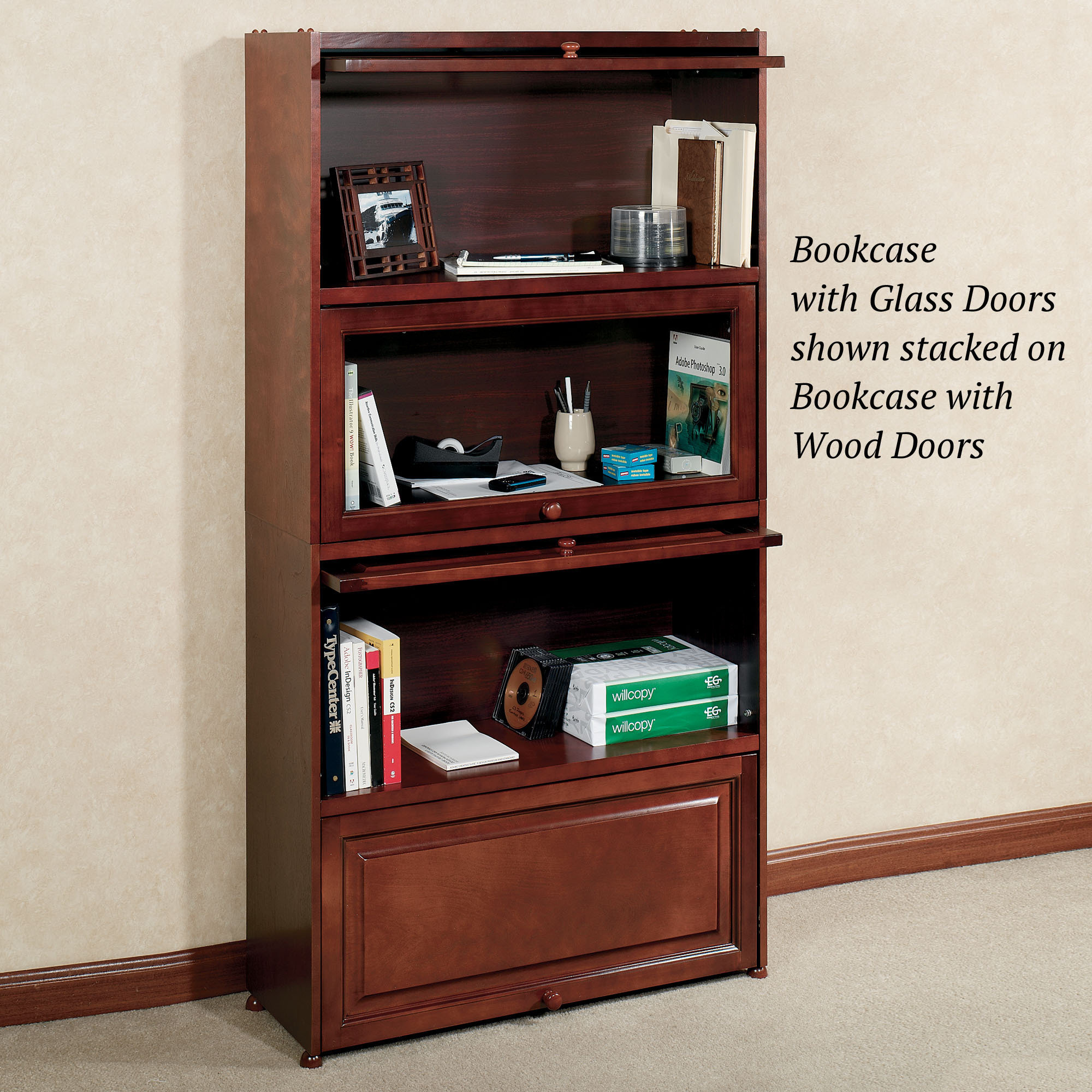Aubrie Cherry Bookcase With Wooden Panel Doors