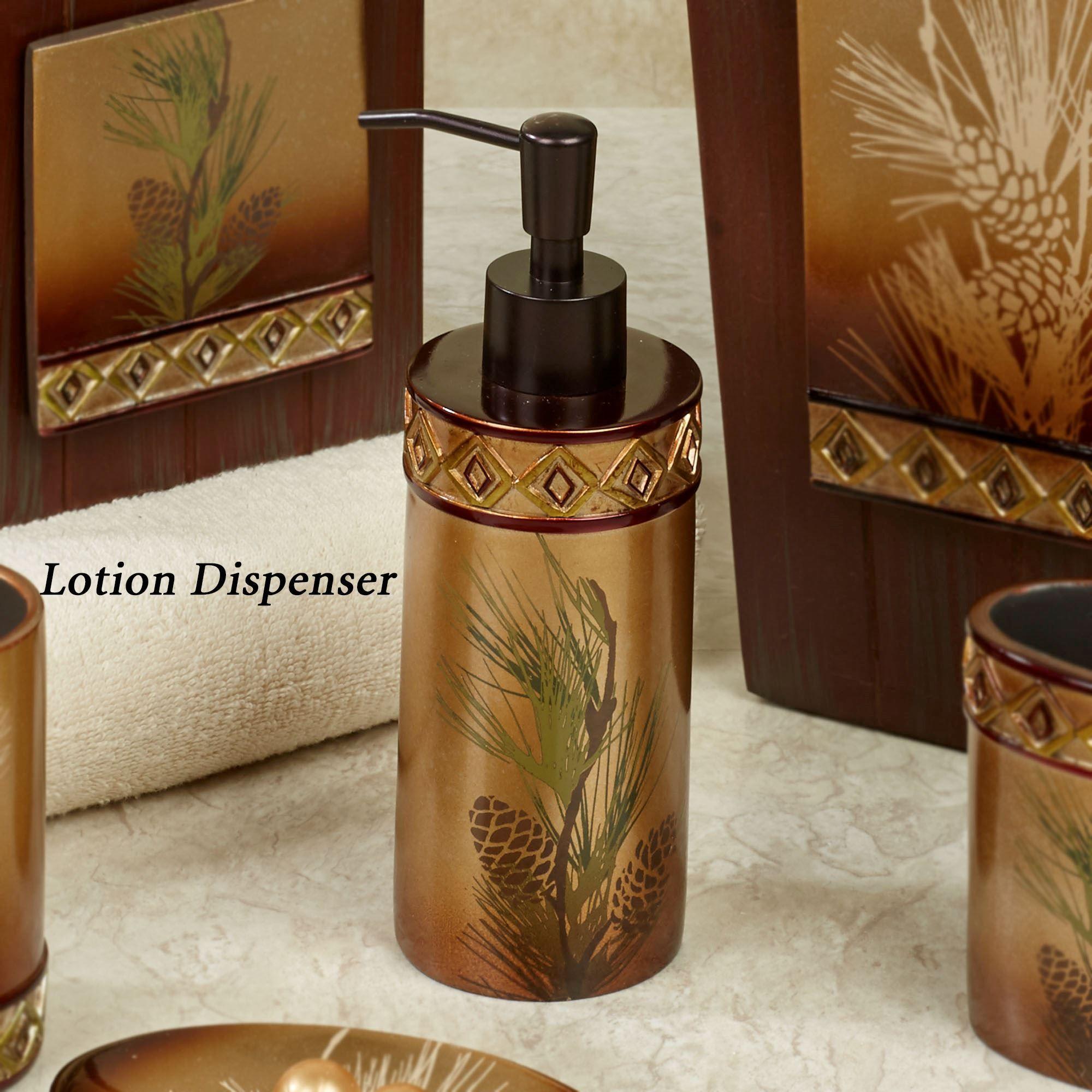 Merveilleux Pine Cone Silhouettes Lotion Soap Dispenser Brown