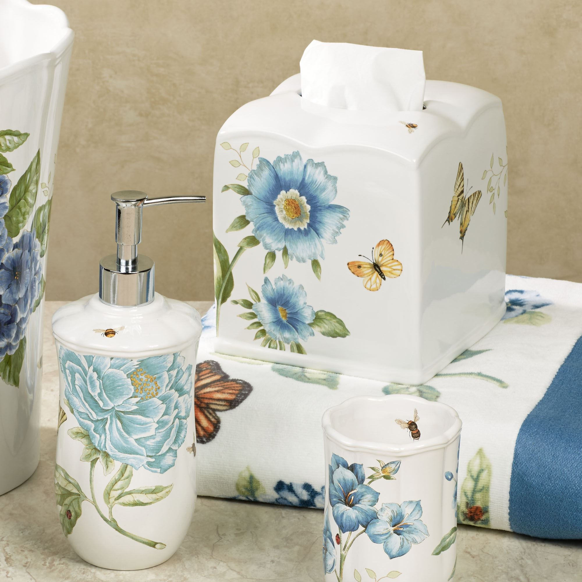 blue and white porcelain bathroom accessories lenox blue floral garden porcelain bath accessories 25166