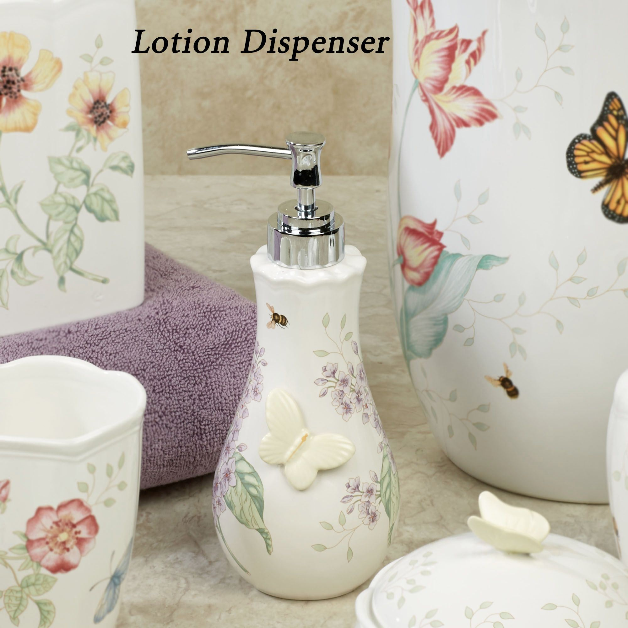 Lenox butterfly meadow porcelain bath accessories for Bathroom decoration pieces