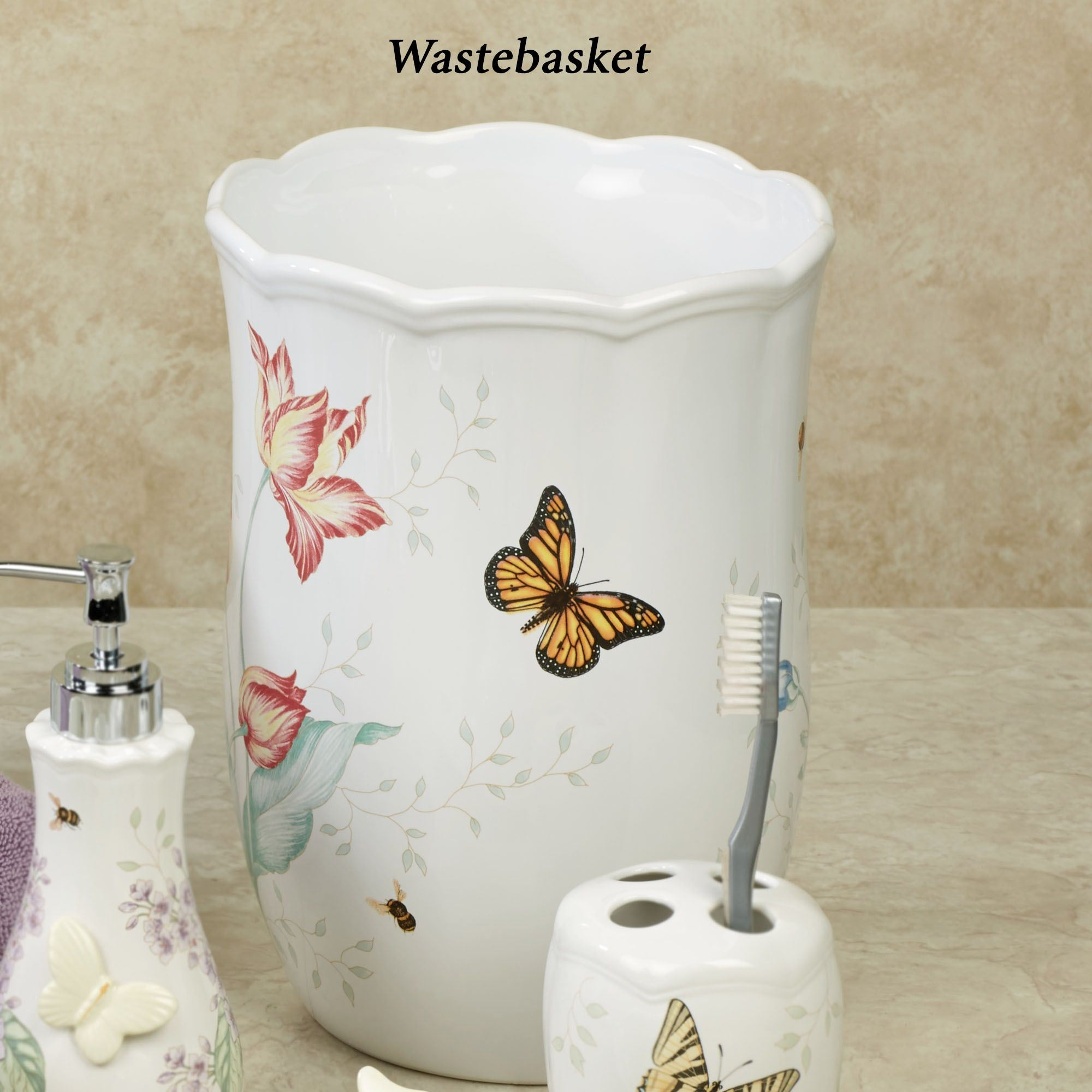 Dragonfly Decor For Bath Lenox Erfly Meadow Wastebasket White