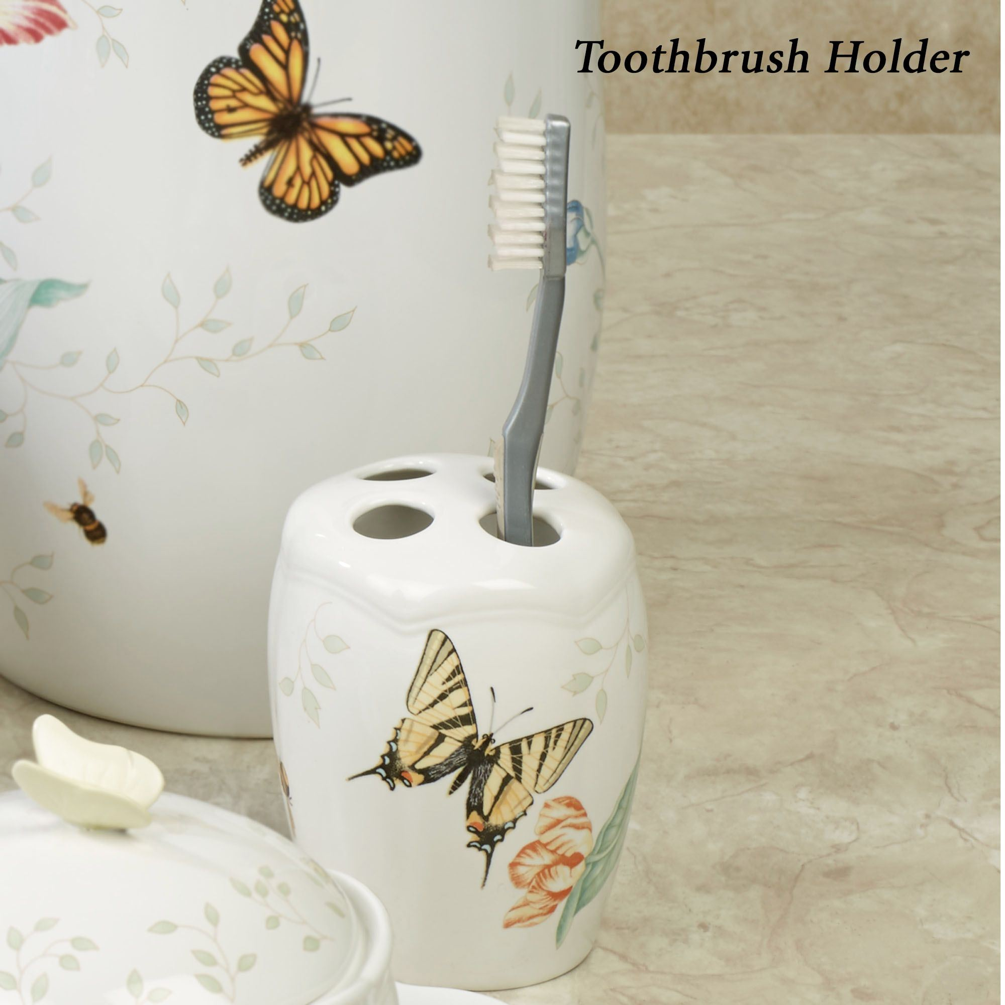 Superb Lenox Butterfly Meadow Toothbrush Holder White