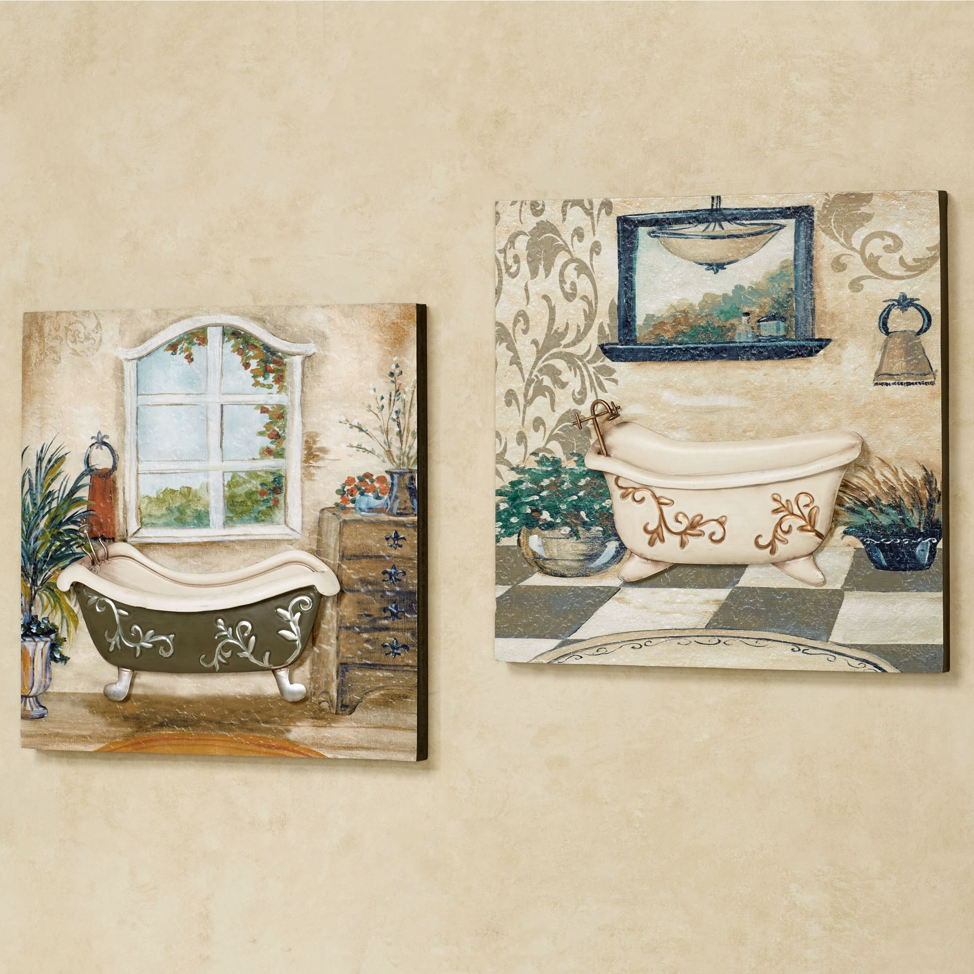 Salle de bain bathroom wall art set for Bathroom wall decor images