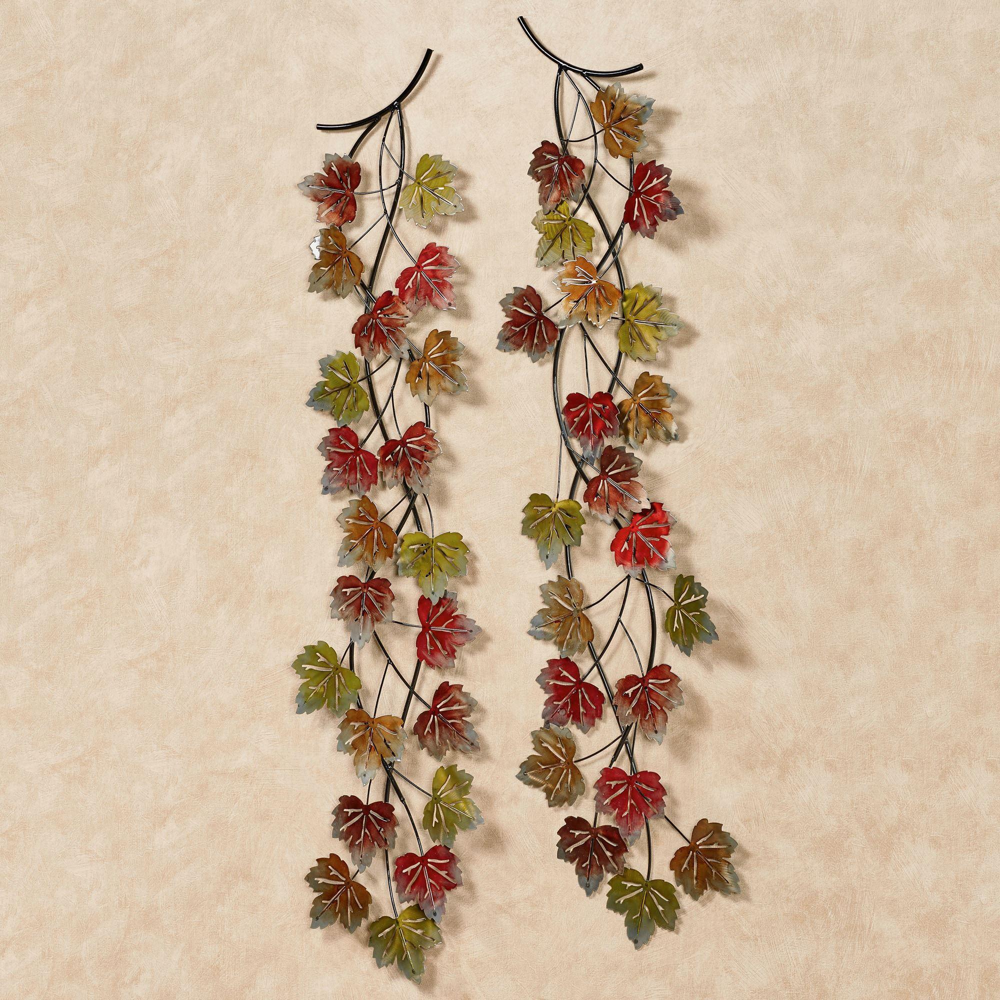 Falling Leaves Autumn Branch Metal Wall Art Set