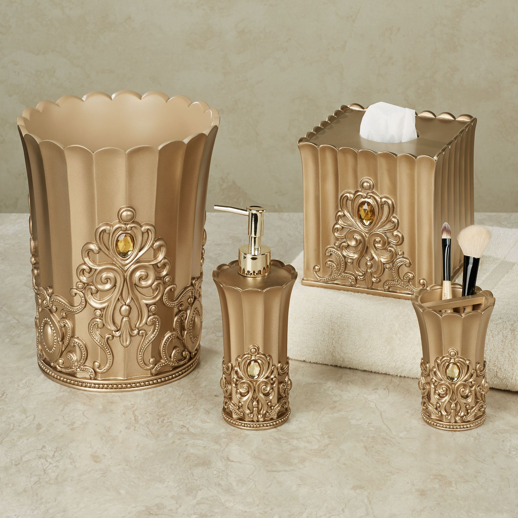 Opulence Champagne Gold Jeweled Bath Accessories