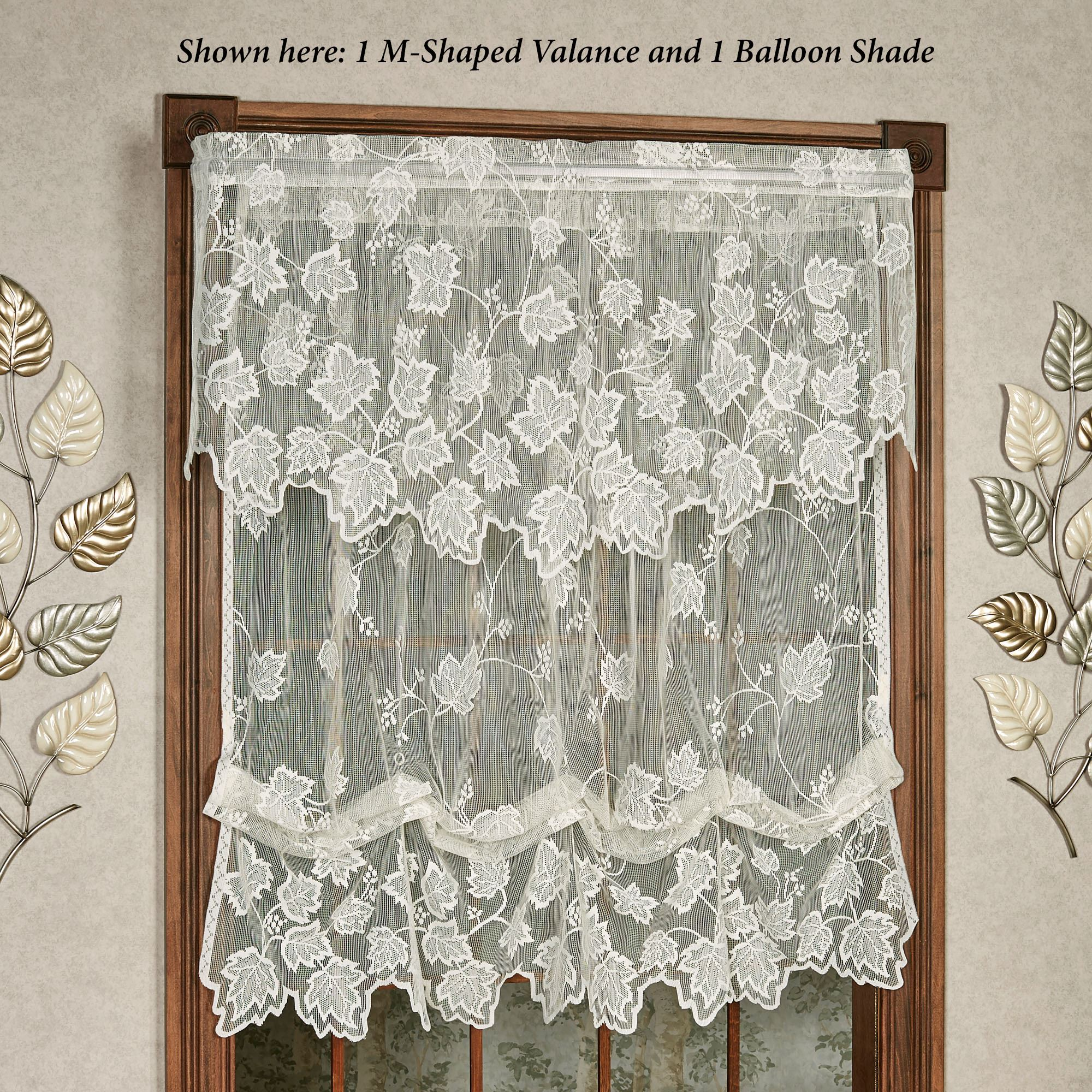 Dancing Leaves Sheer Lace Balloon Shade Window Treatment