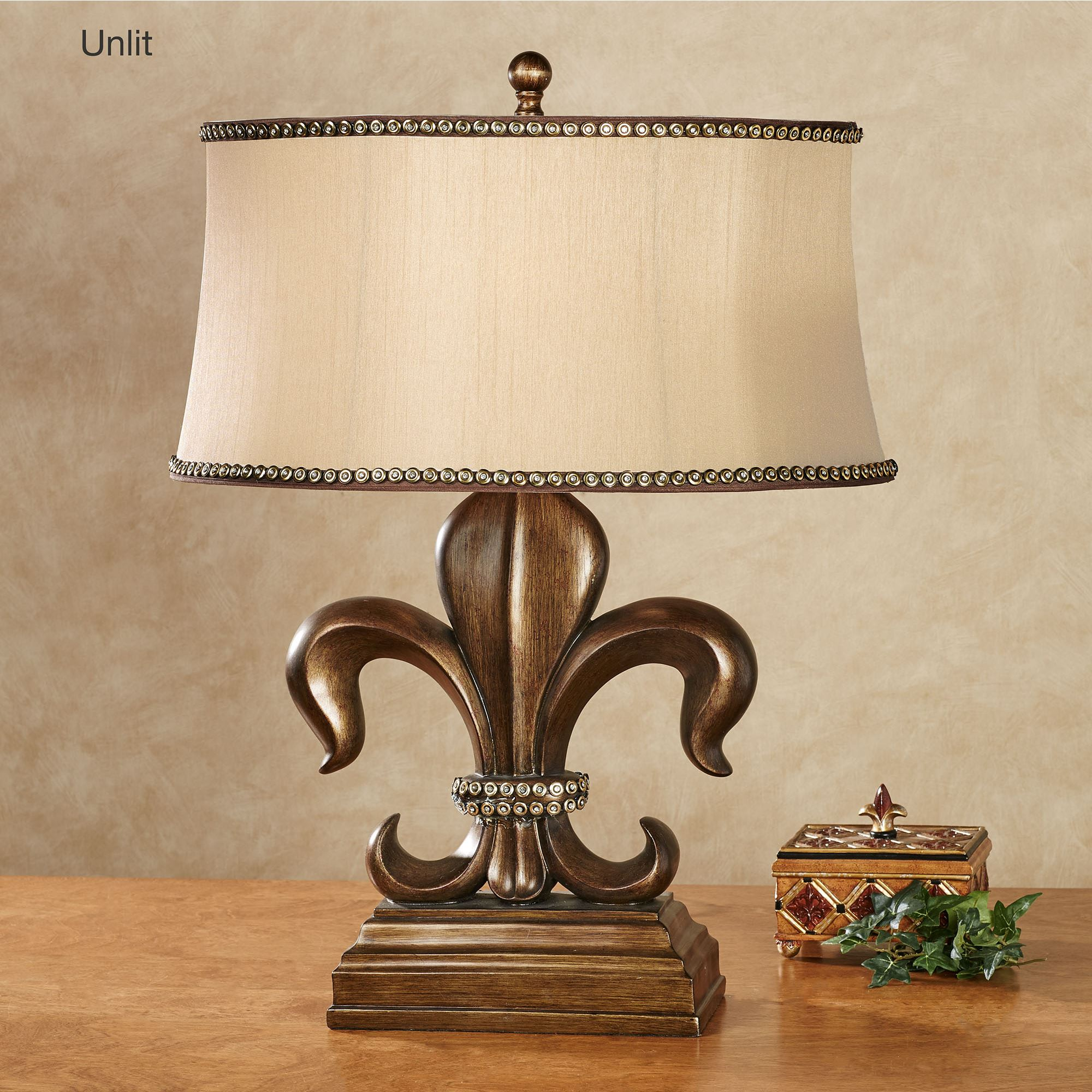 Bon Fayette Fleur De Lis Table Lamp Antique Bronze Each With LED Bulb