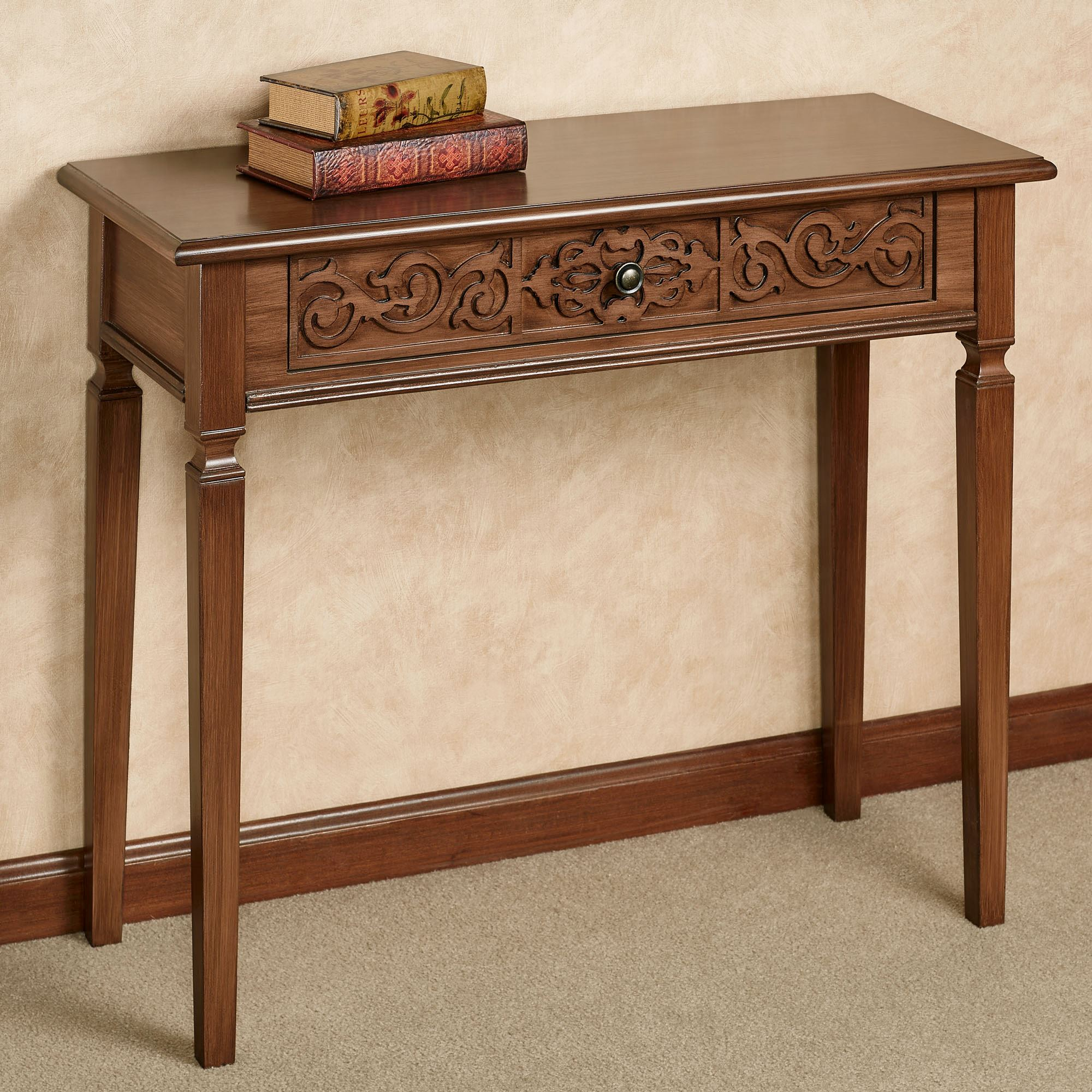 Cacia Carved Wooden Console Table