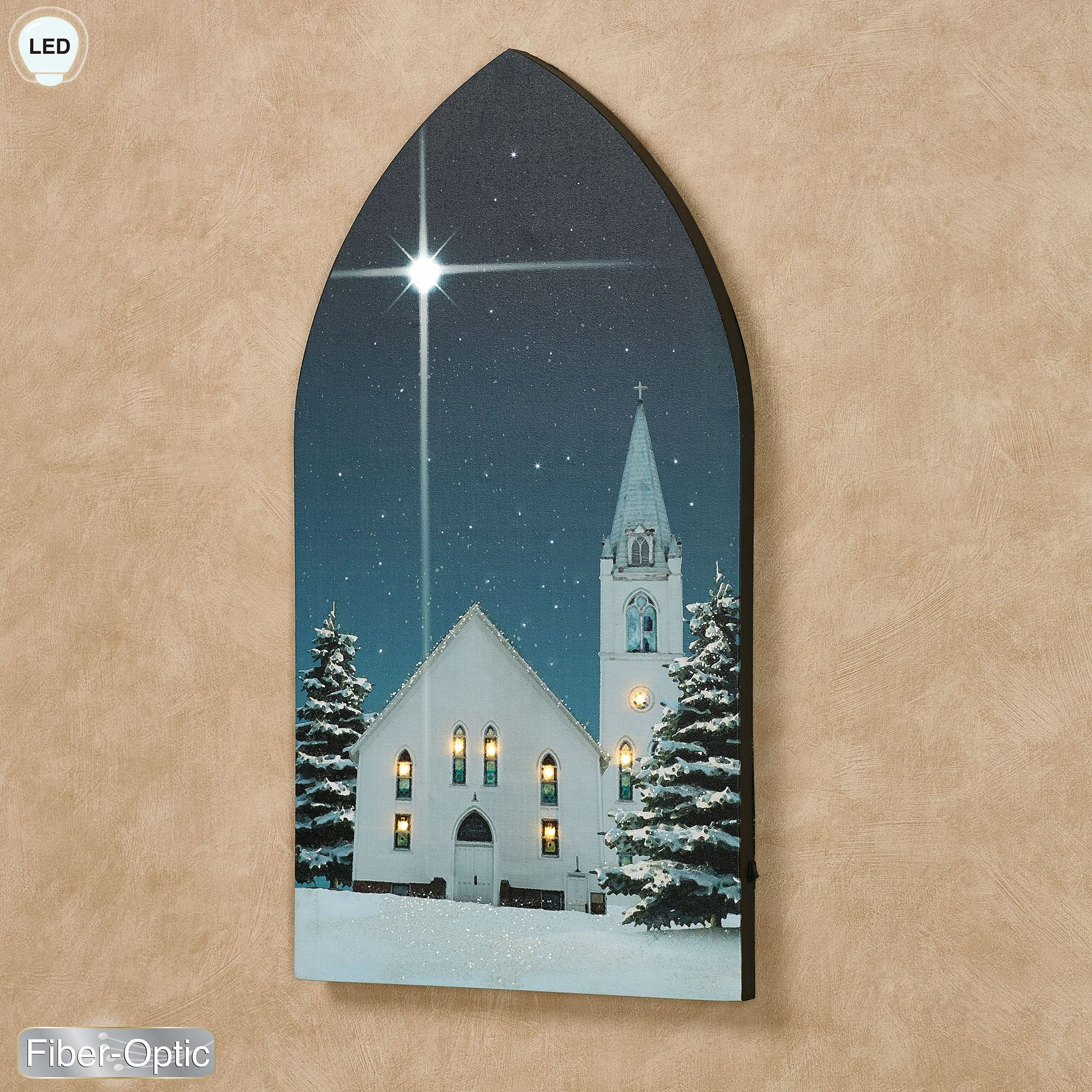 Christmas Star Winter Church Lighted Canvas Wall Art