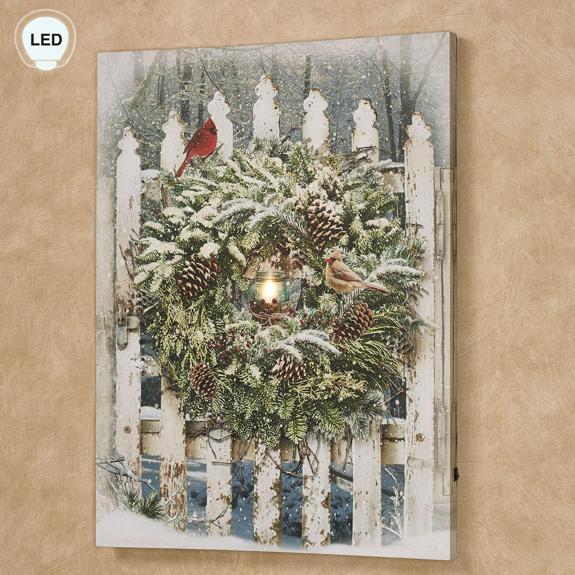 Winter Garden Gate Led Lighted Canvas Wall Art