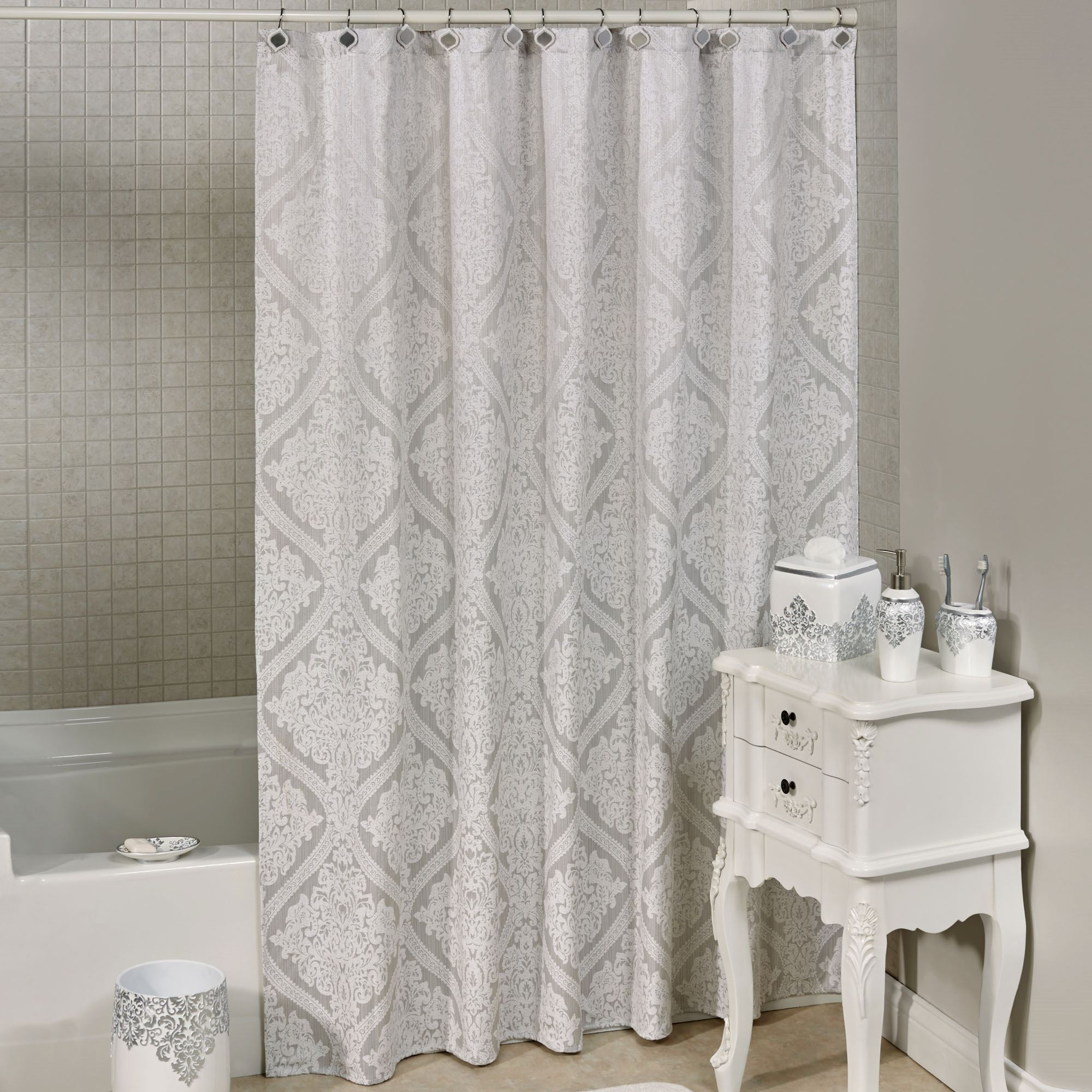 white and silver shower curtain. Ettore Shower Curtain Silver 70 x 72 Damask with Liner