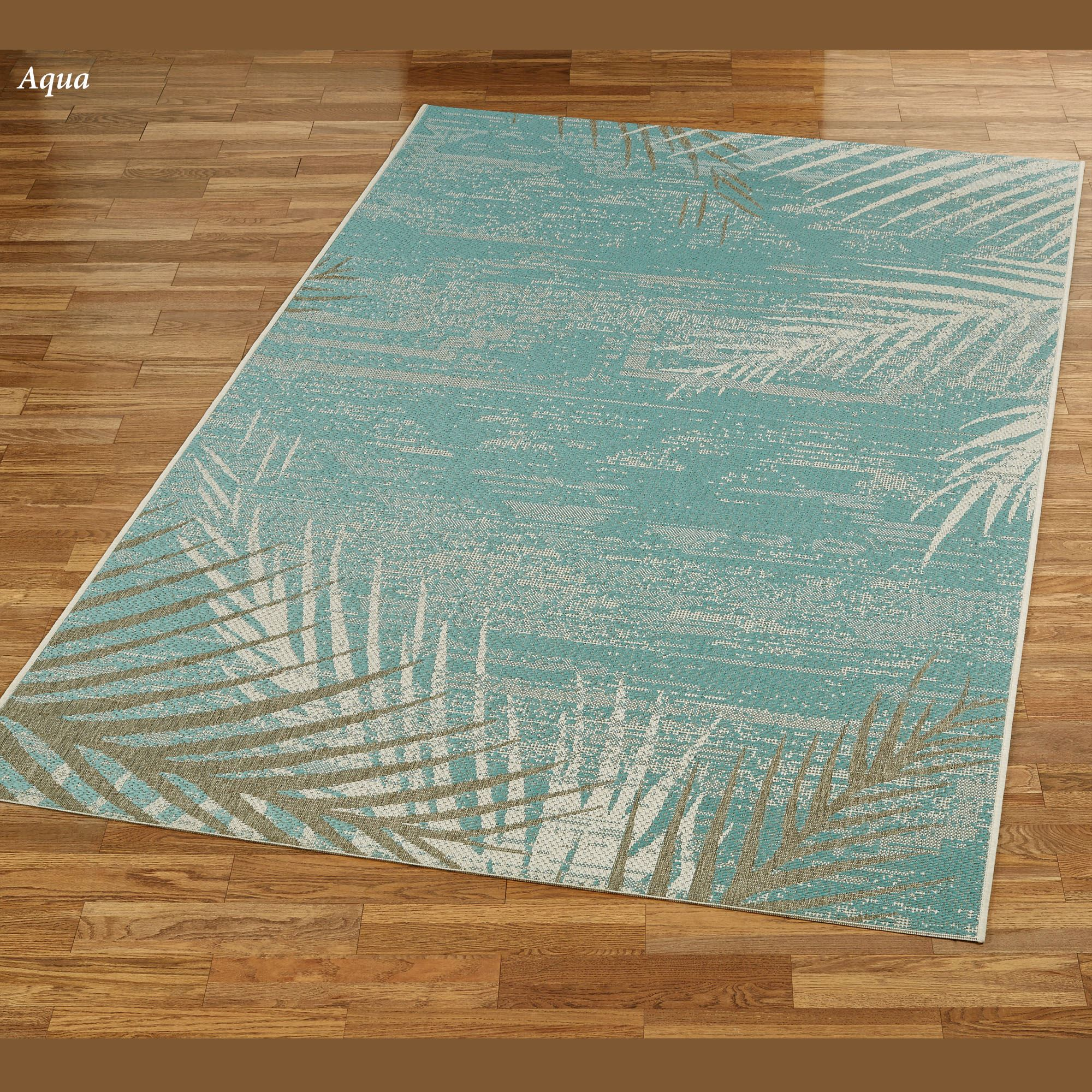 Hawaiian Style Area Rugs: Distressed Palm Tropical Indoor Outdoor Rugs