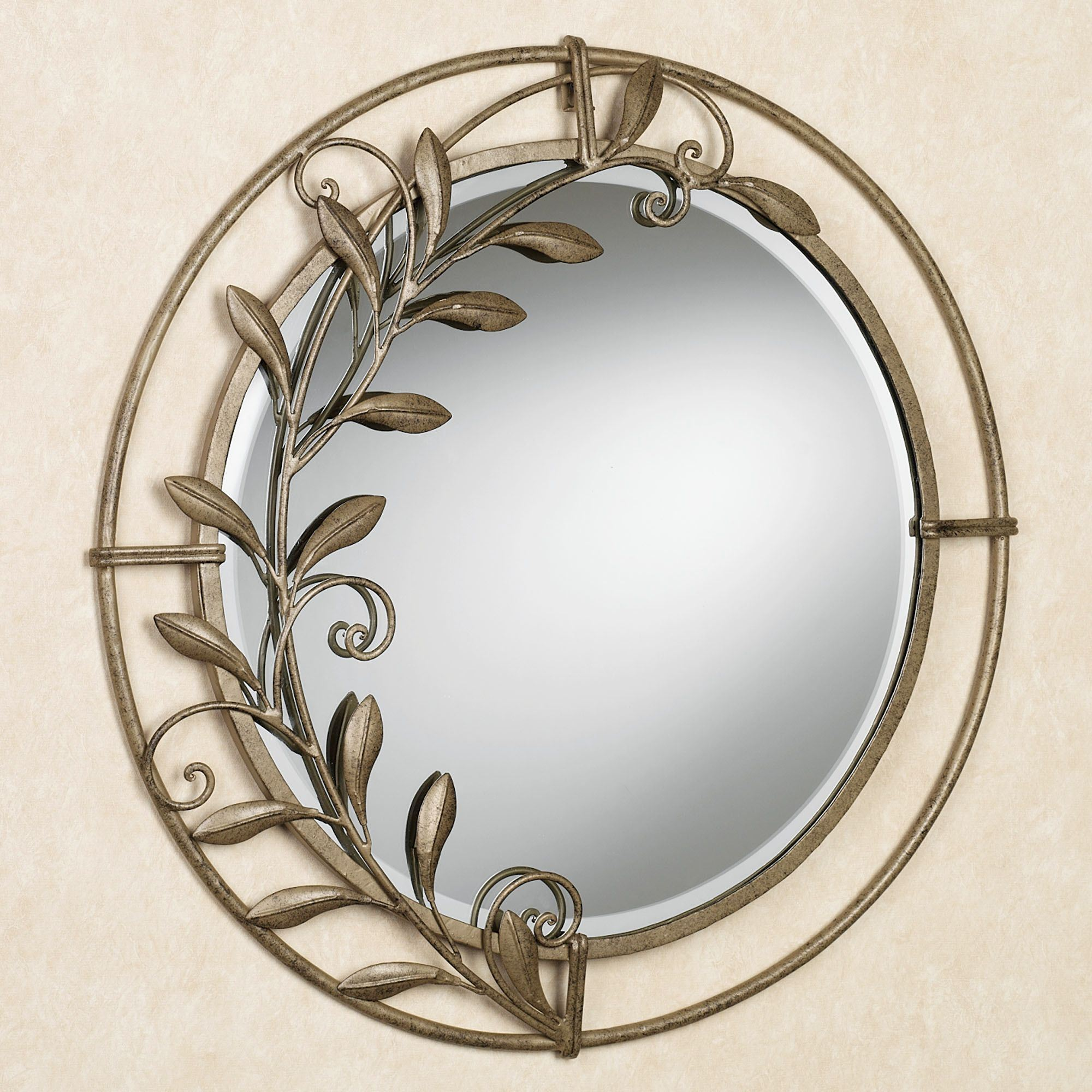 home metallic decor dp view circle larger kitchen wall decorative com amazon leaf mirror