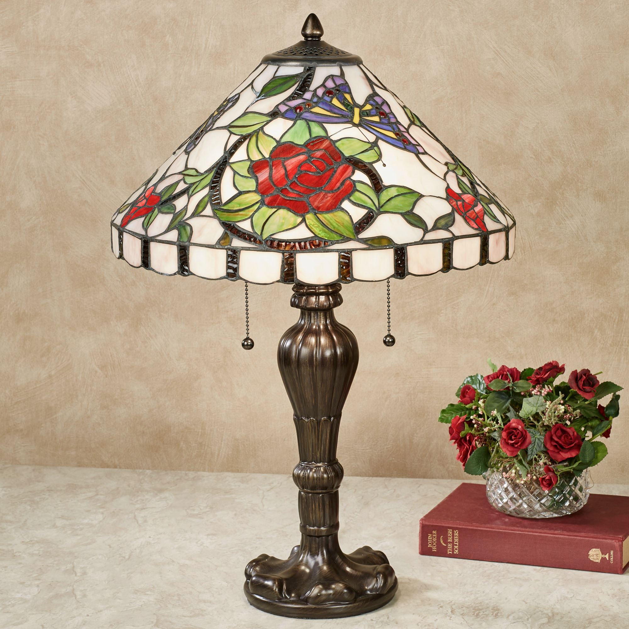 Rose Amour Stained Glass Table Lamp