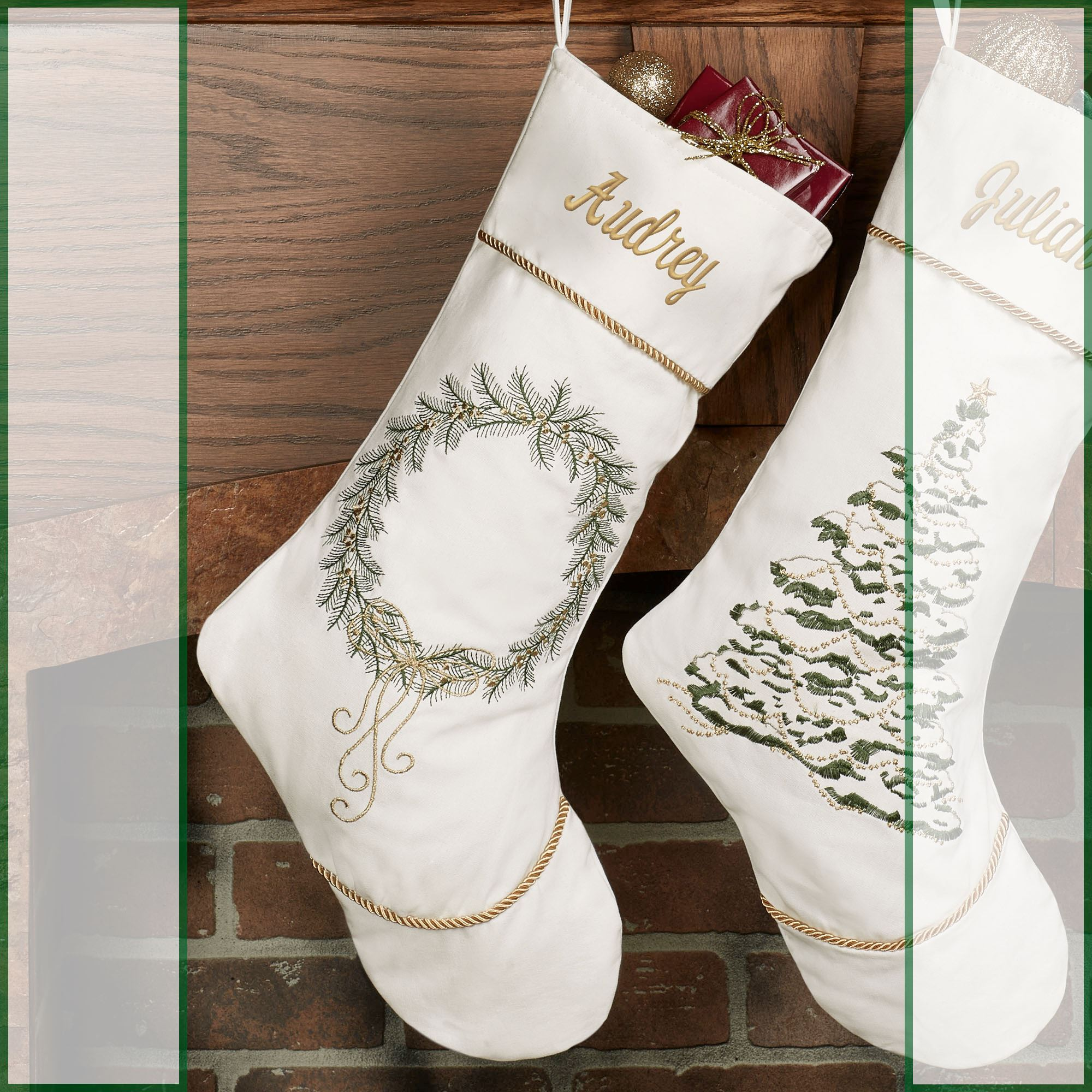 Golden Greenery Embroidered White Christmas Stockings