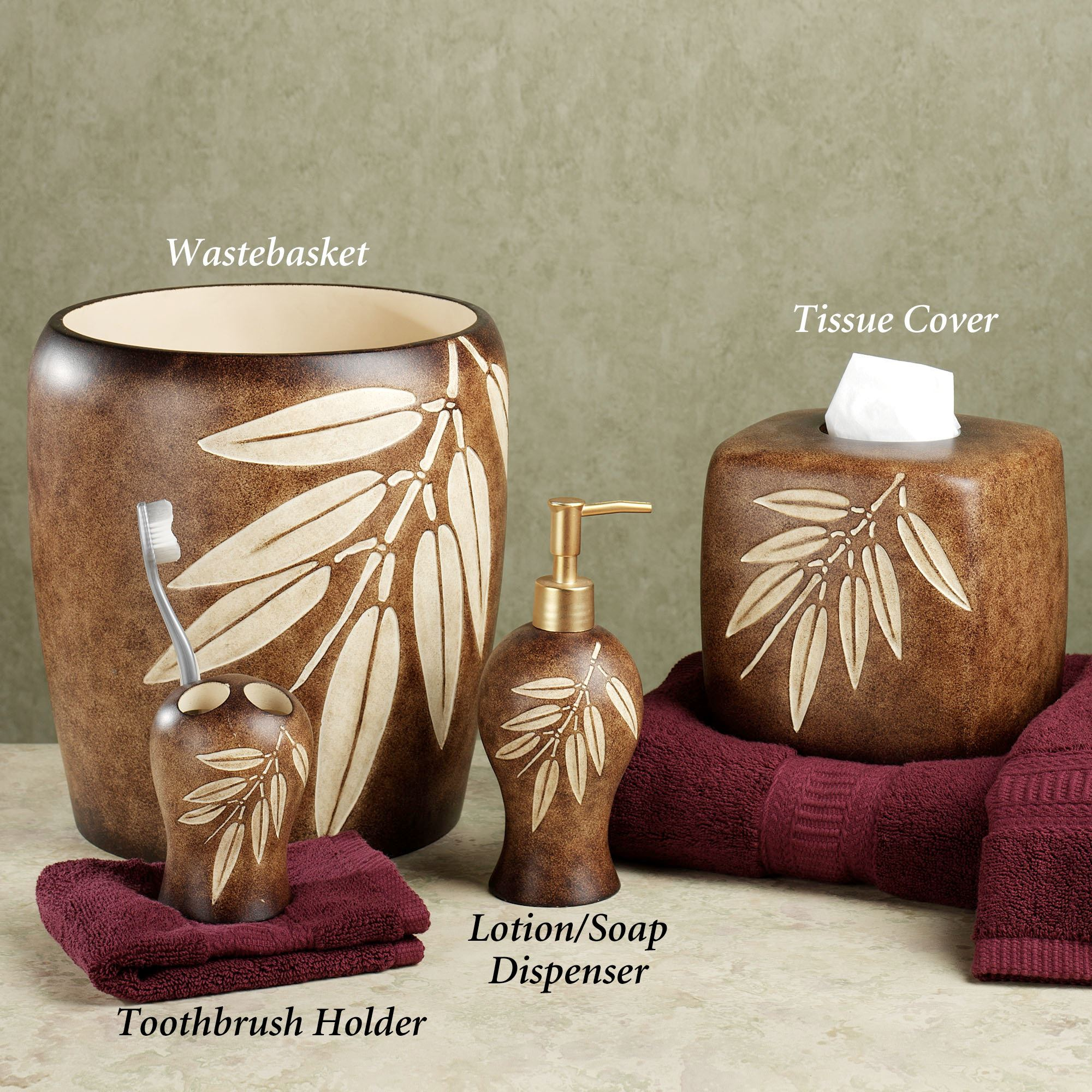 Superieur Bamboo Leaf Bath Accessories. Bamboo Leaf Lotion Soap Dispenser. Touch To  Zoom