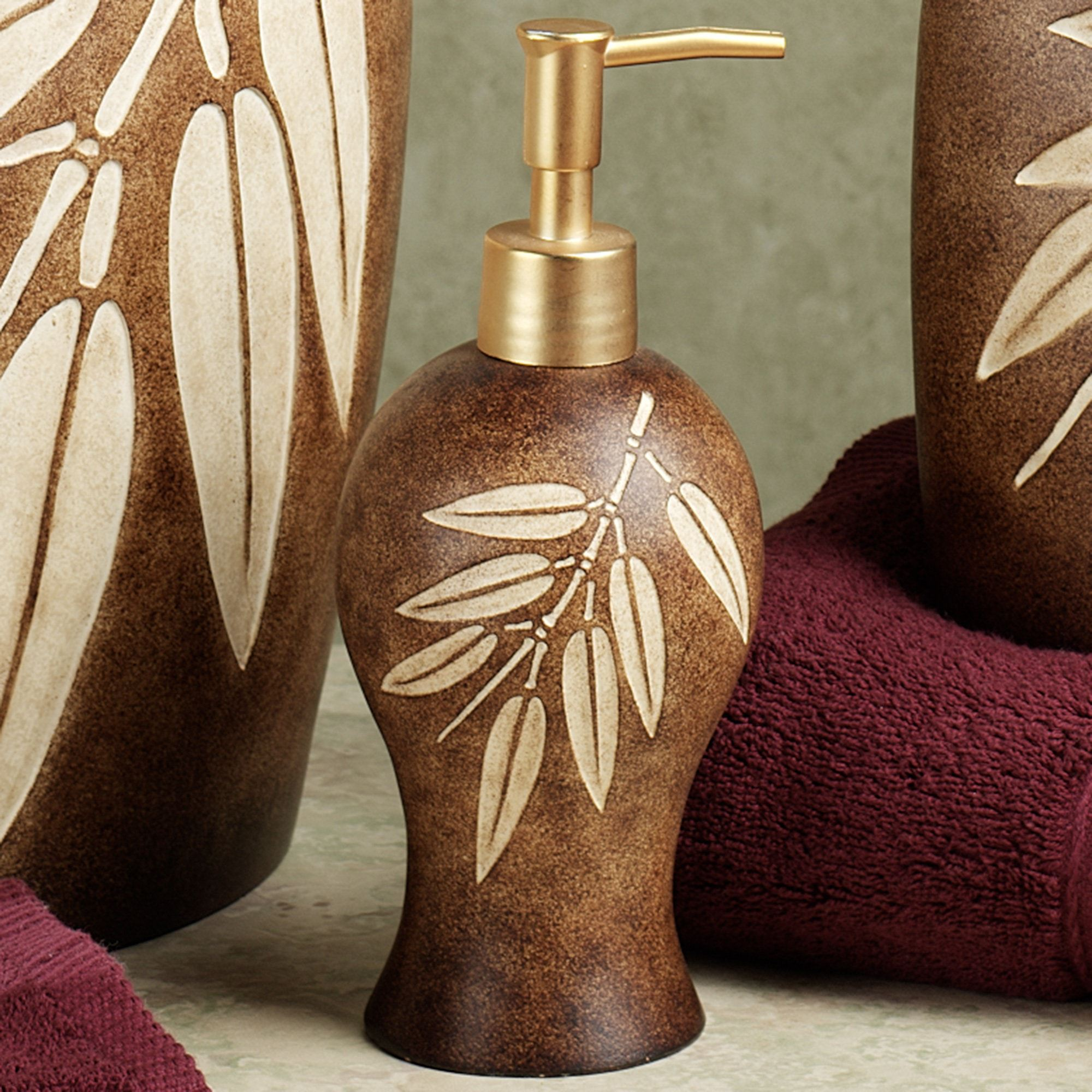 Attirant Bamboo Leaf Lotion Soap Dispenser
