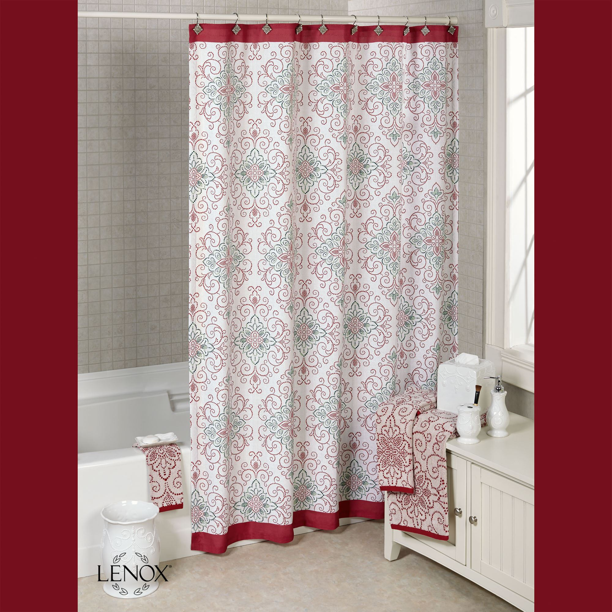 Lenox French Perle Groove Christmas Shower Curtain